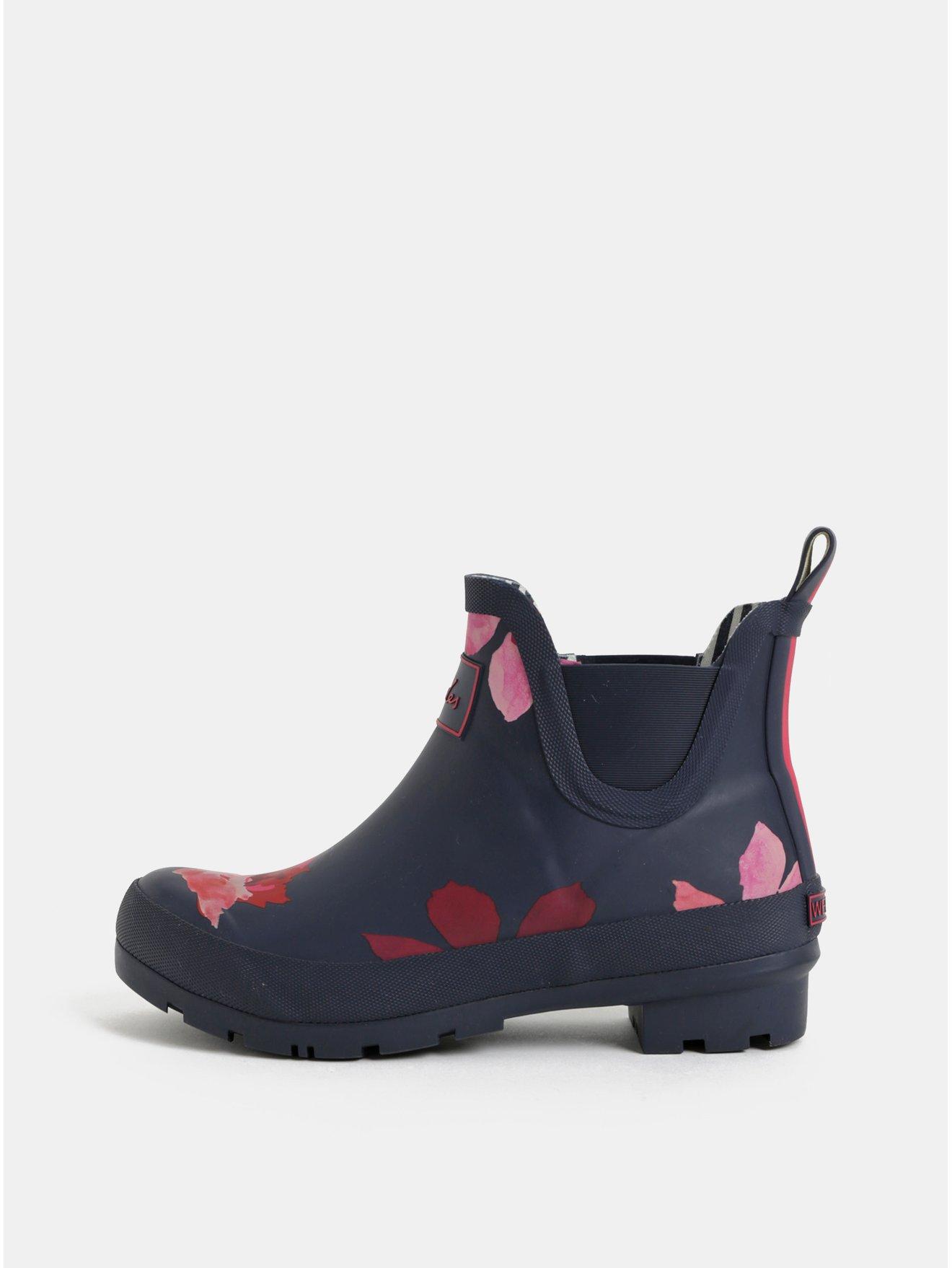 Tmavě modré dámské květované gumové chelsea boty Tom Joule Wellibobs