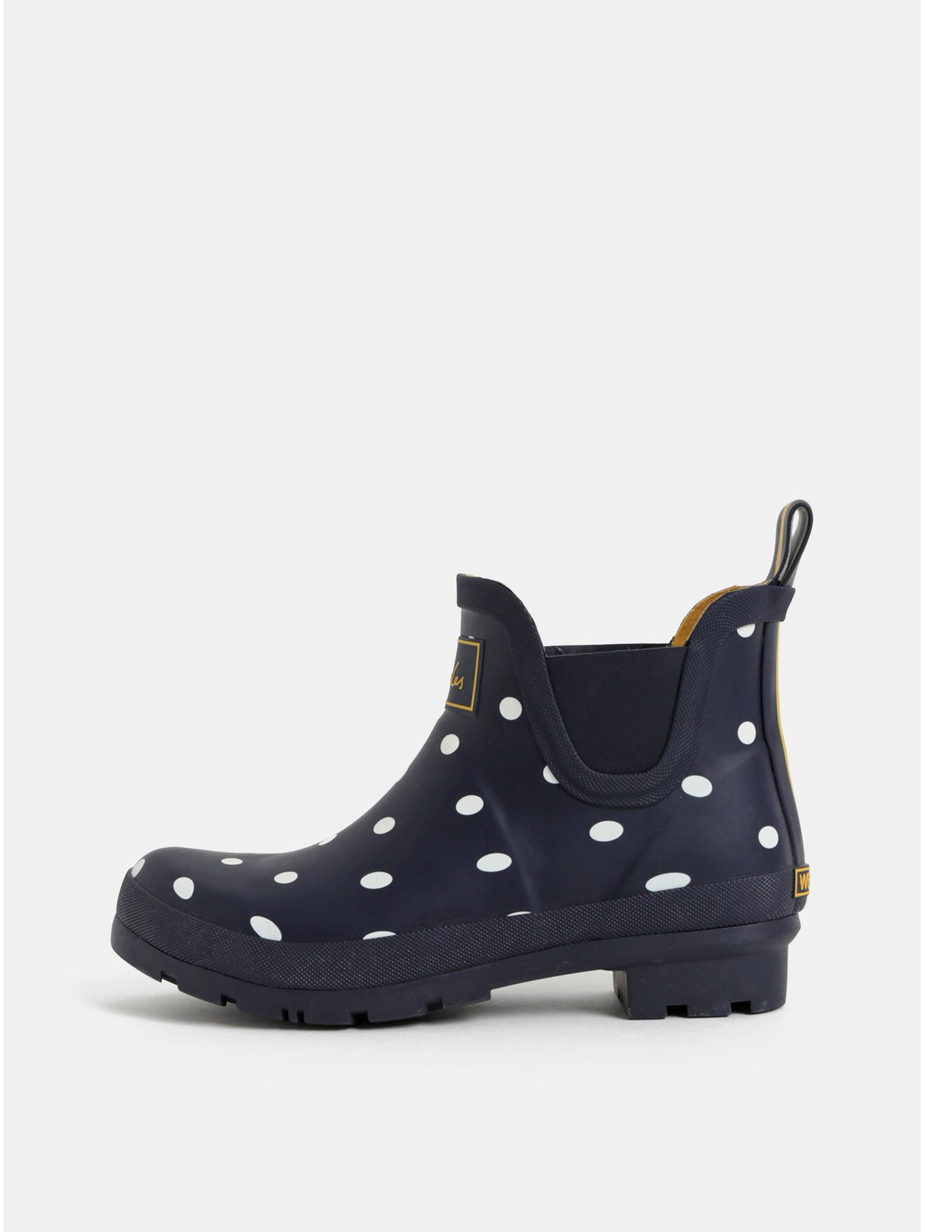 Tmavě modré dámské puntíkované gumové chelsea boty Tom Joule Wellibobs