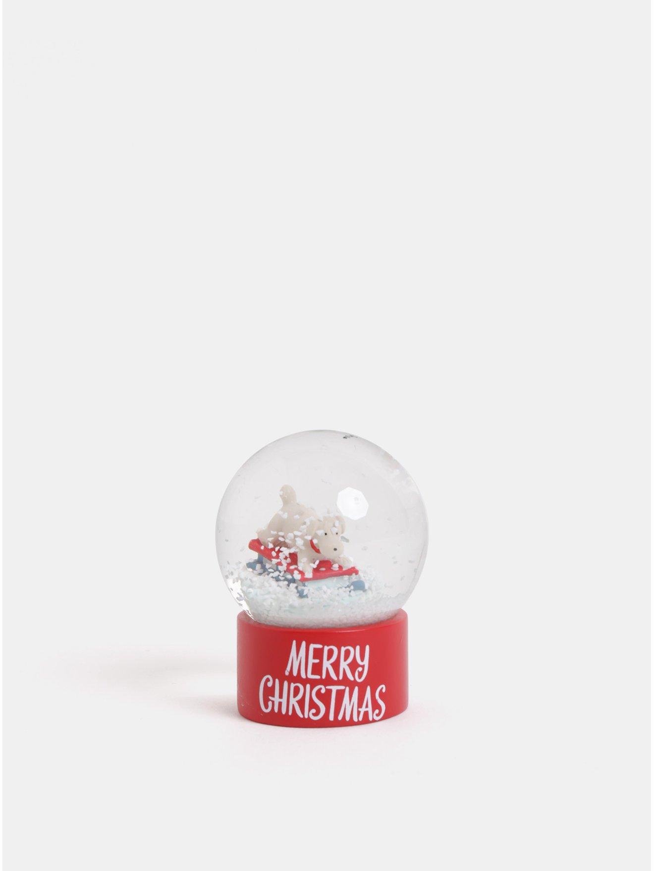 Červené vánoční sněžítko s motivem pejska Cath Kidston