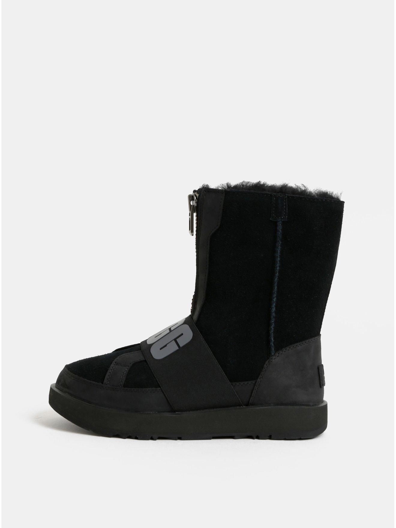 Černé voděodolné semišové zimní boty s vnitřním kožíškem UGG Conness