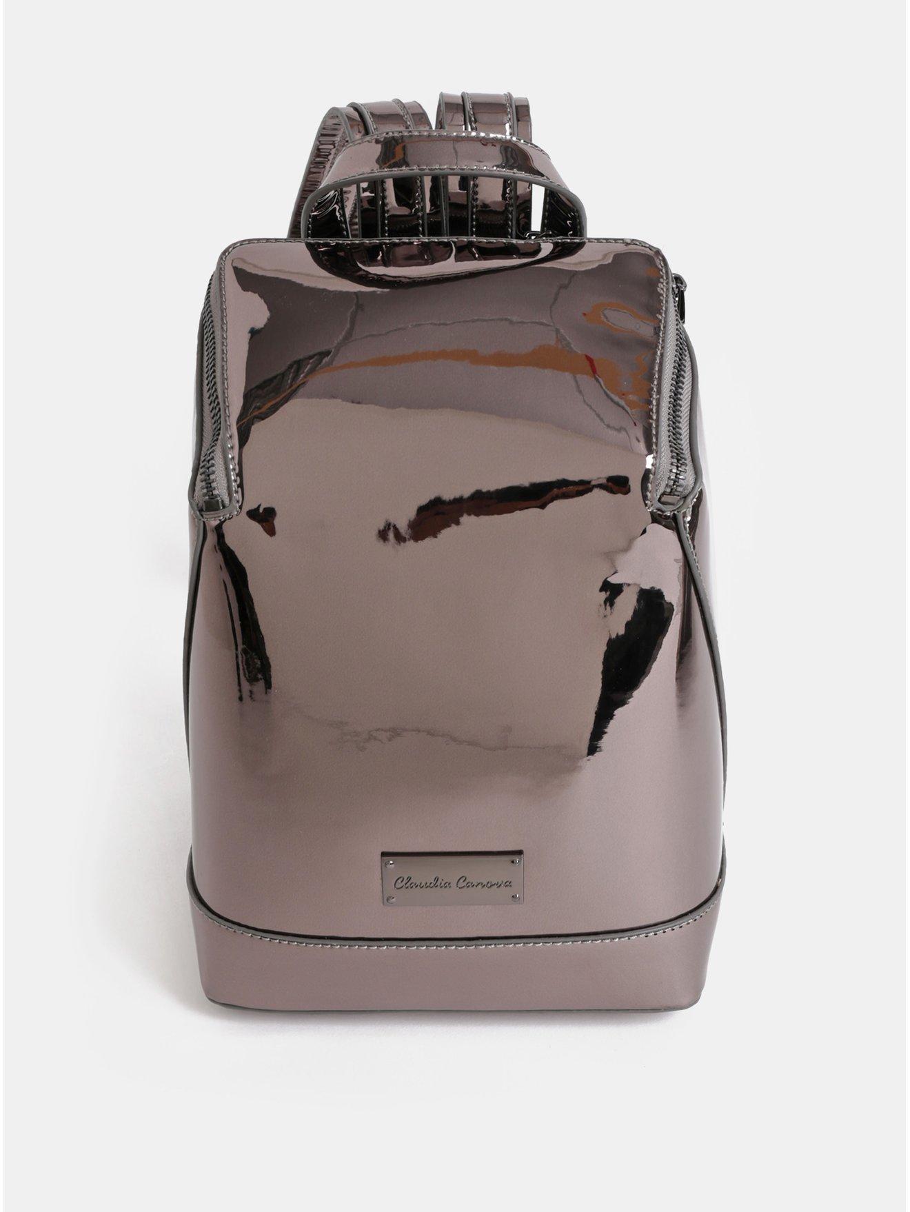 Tmavě šedý lesklý batoh s metalickými odlesky Claudia Canova Valentina c6e99de017
