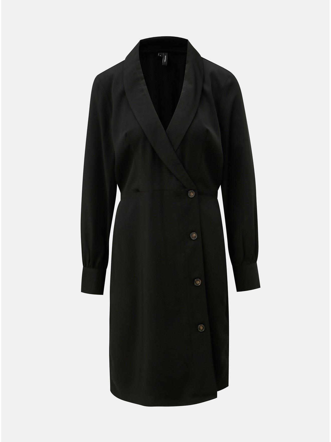Fotografie Černé šaty s dlouhým rukávem a překládaným výstřihem VERO MODA Pearl