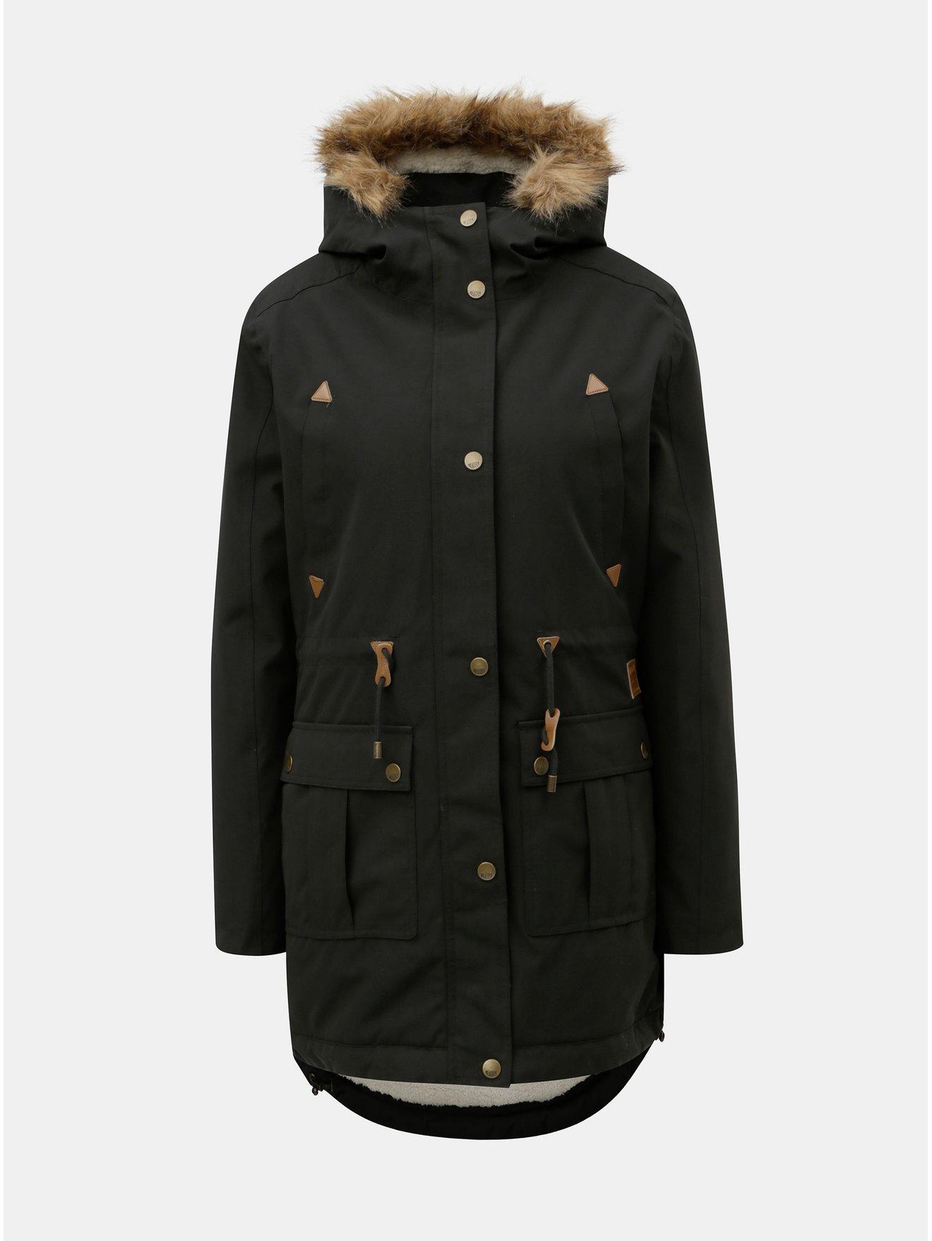 Černá dámská zimní parka s vnitřním umělým kožíškem Meatfly Rainy