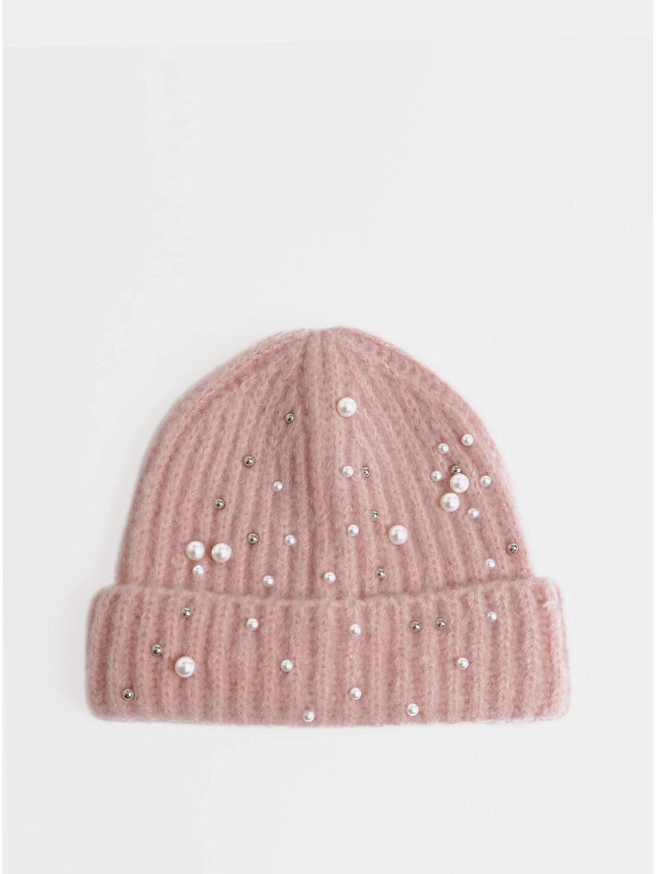 Světle růžová zimní čepice s perličkami Pieces Felia