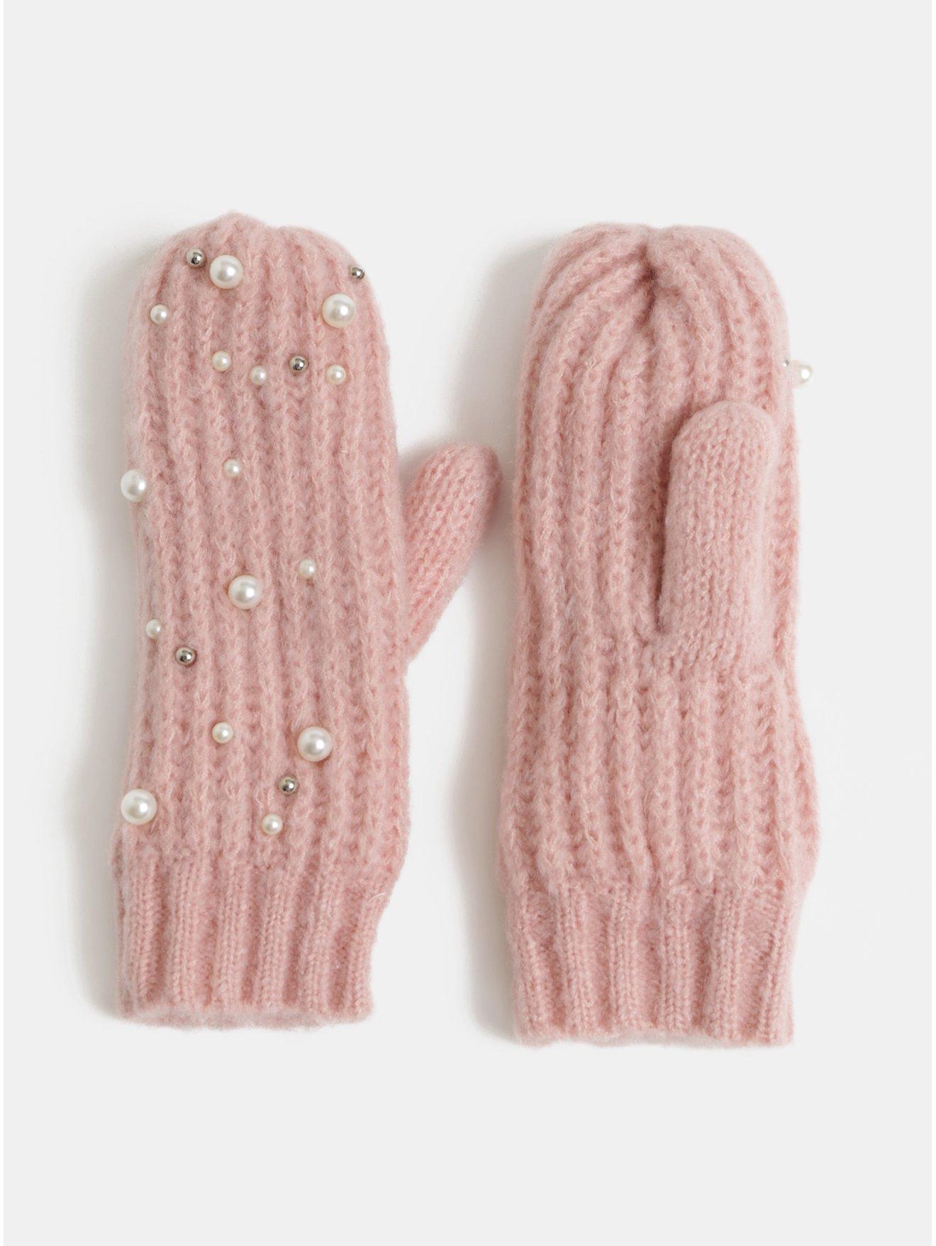 Světle růžové palčáky s perličkami Pieces Felia 26e6ab8aff