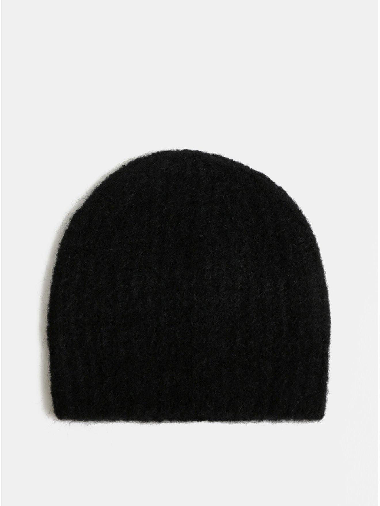 Černá vlněná čepice Pieces Fluffy 26e00dcedd