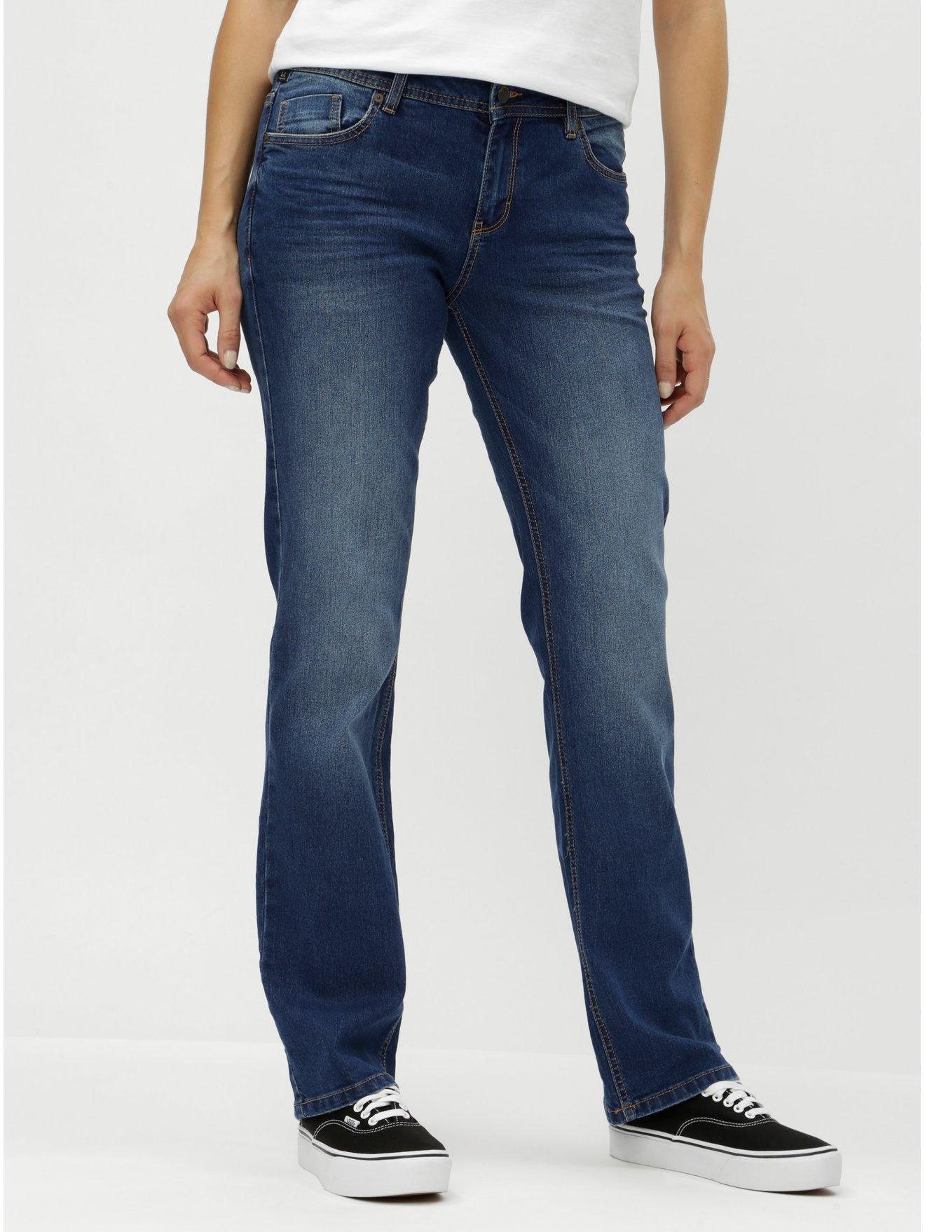 Modré dámské straight džíny s vyšisovaným efektem s.Oliver dfb4d13a94