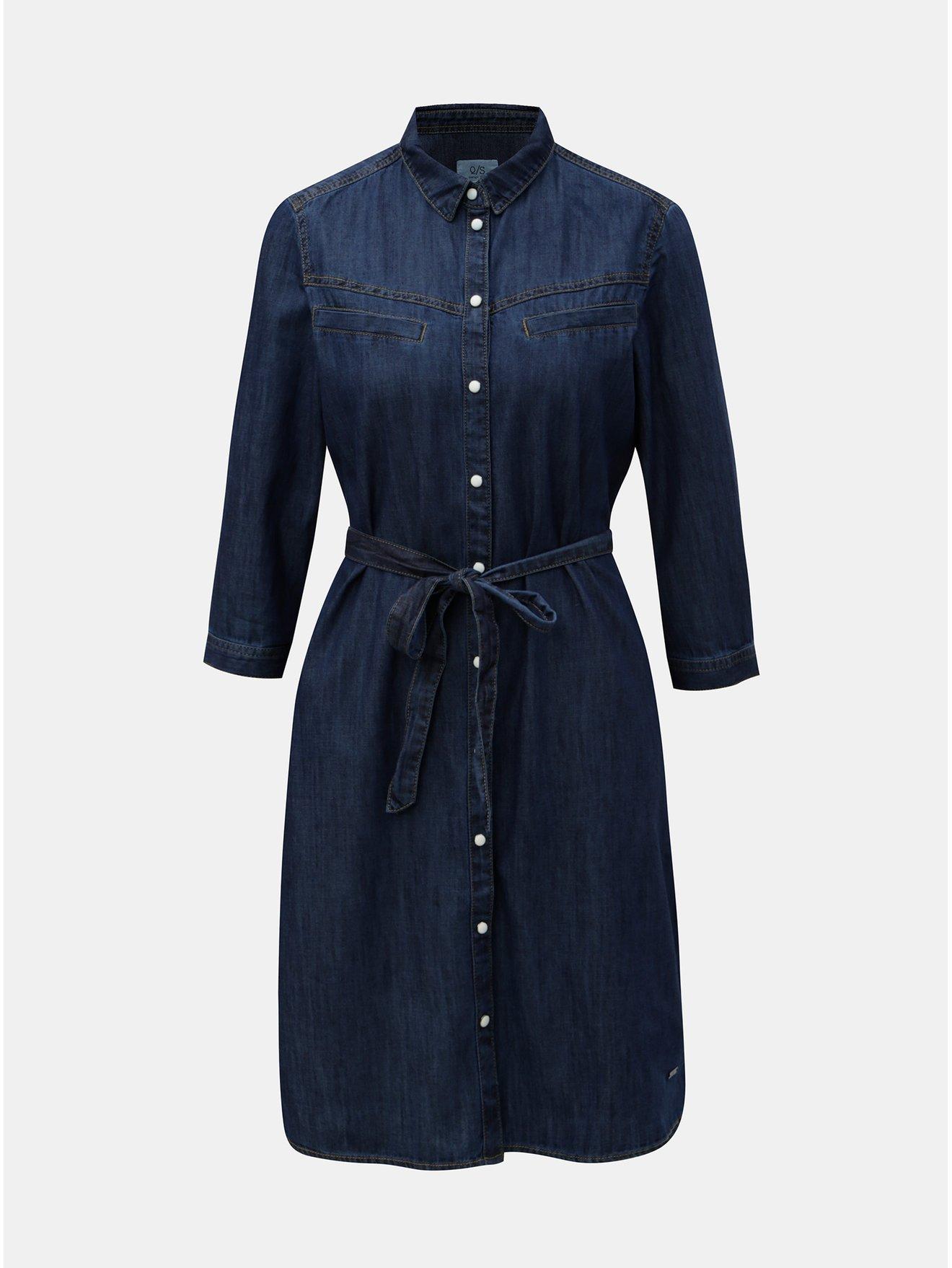 Modré džínové šaty s 3/4 rukávem QS by s.Oliver