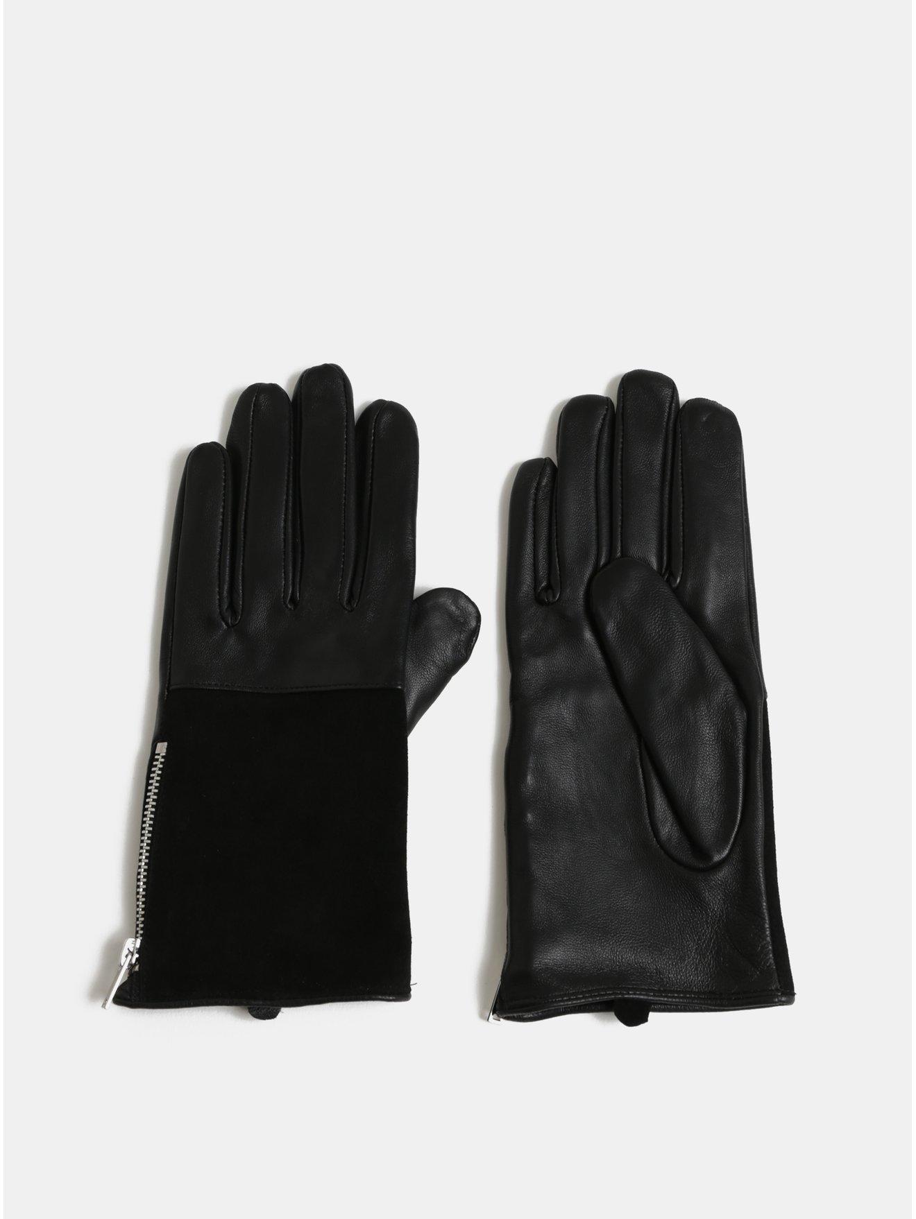 Černé kožené rukavice s ozdobným zipem Pieces Fan