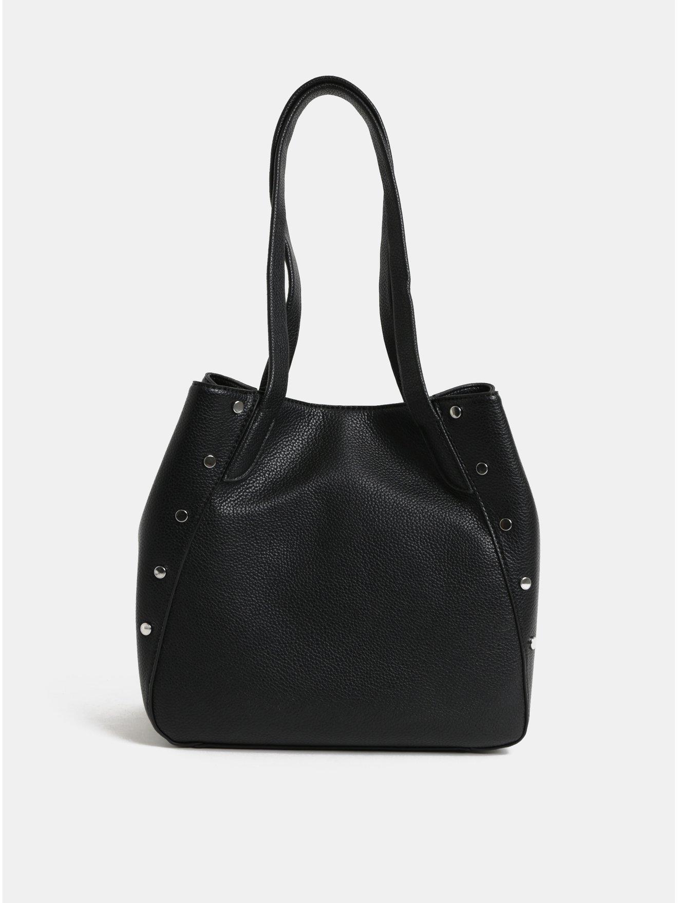 20568fda08e Černá kabelka s detaily ve stříbrné barvě Pieces Kimberley