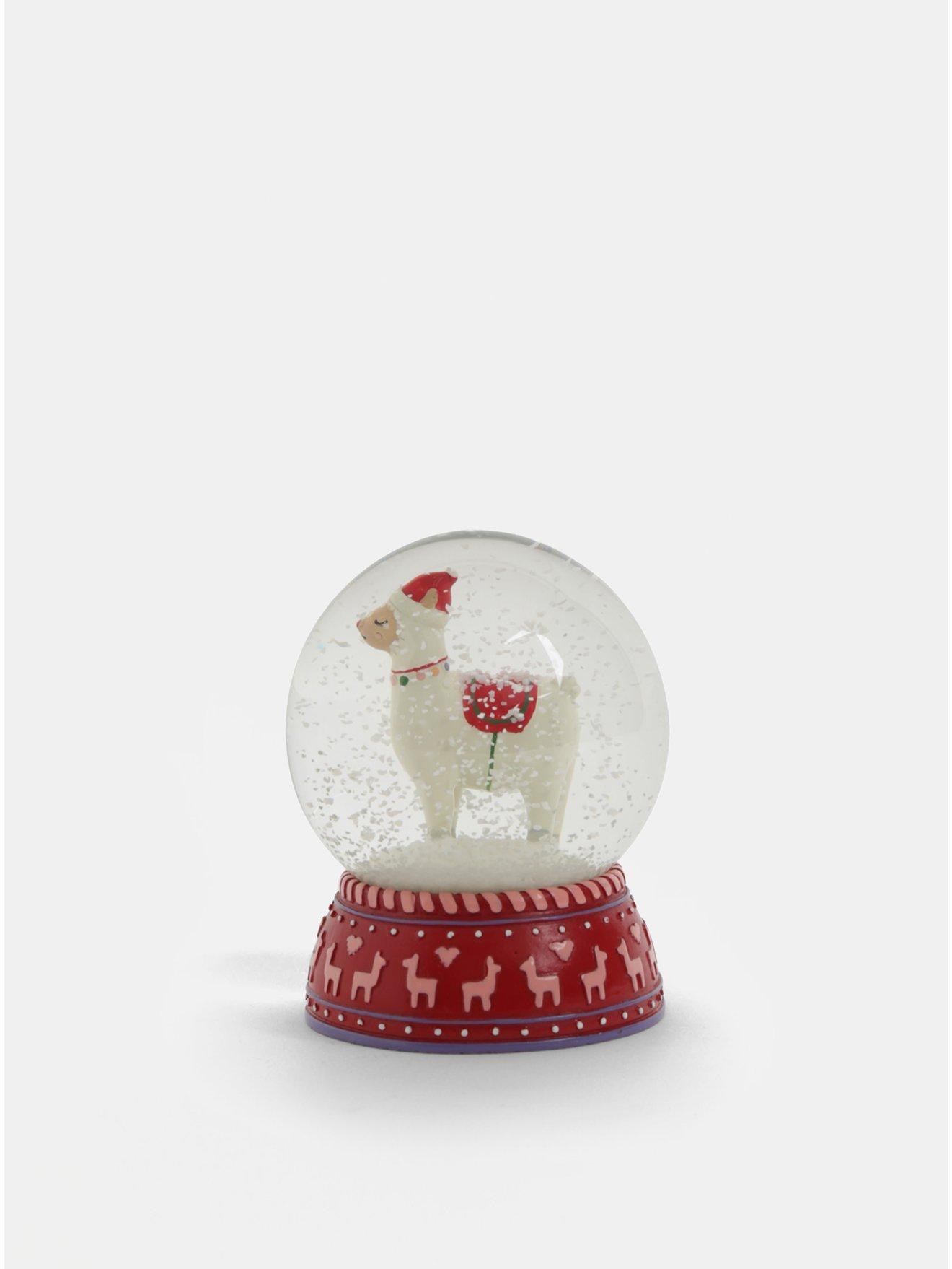 Červené vánoční sněžítko s motivem lamy Sass & Belle Fa La La Lama