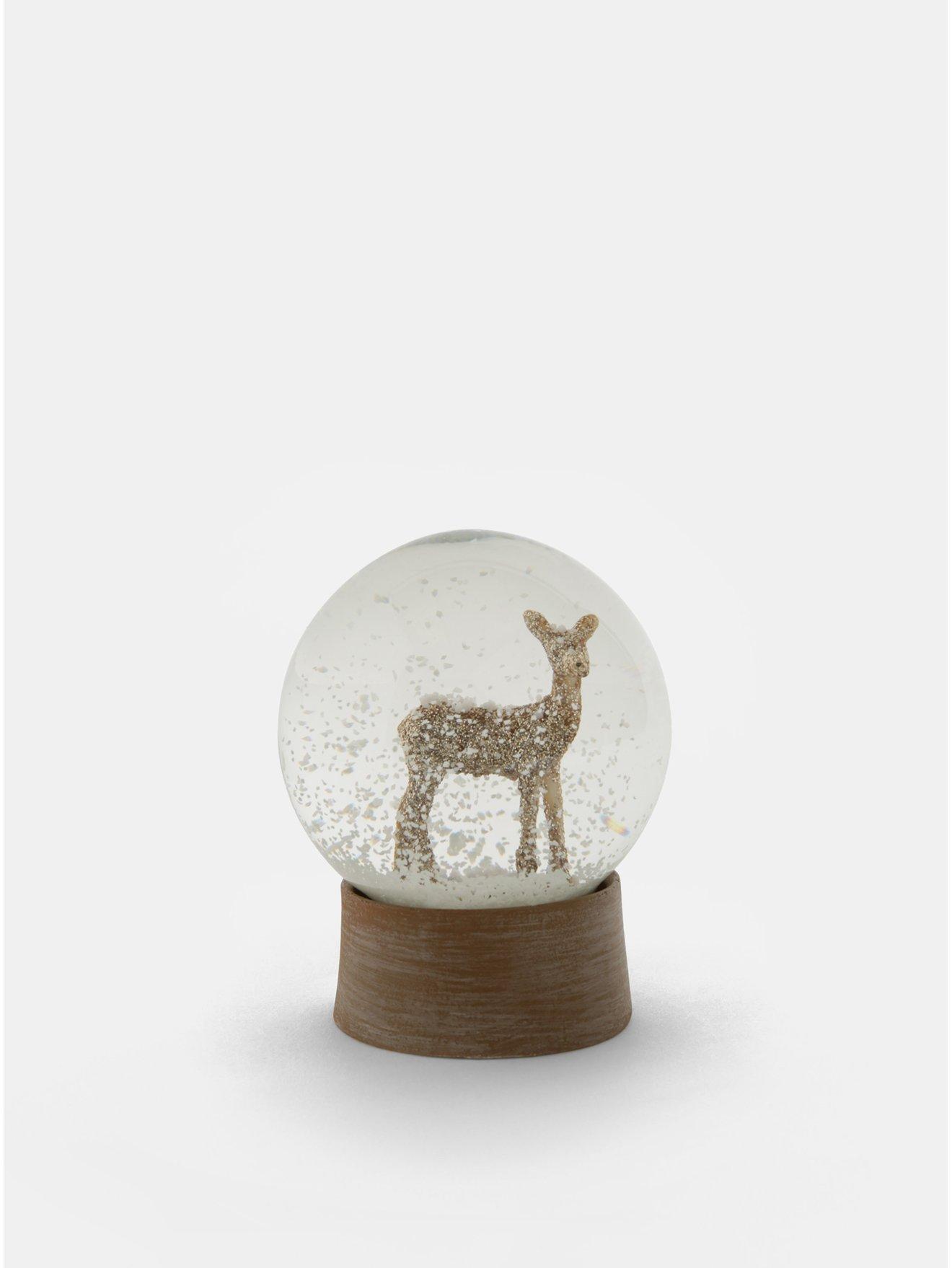 Hnědé vánoční sněžítko s motivem srnky Sass & Belle Glitzy Gold Deer