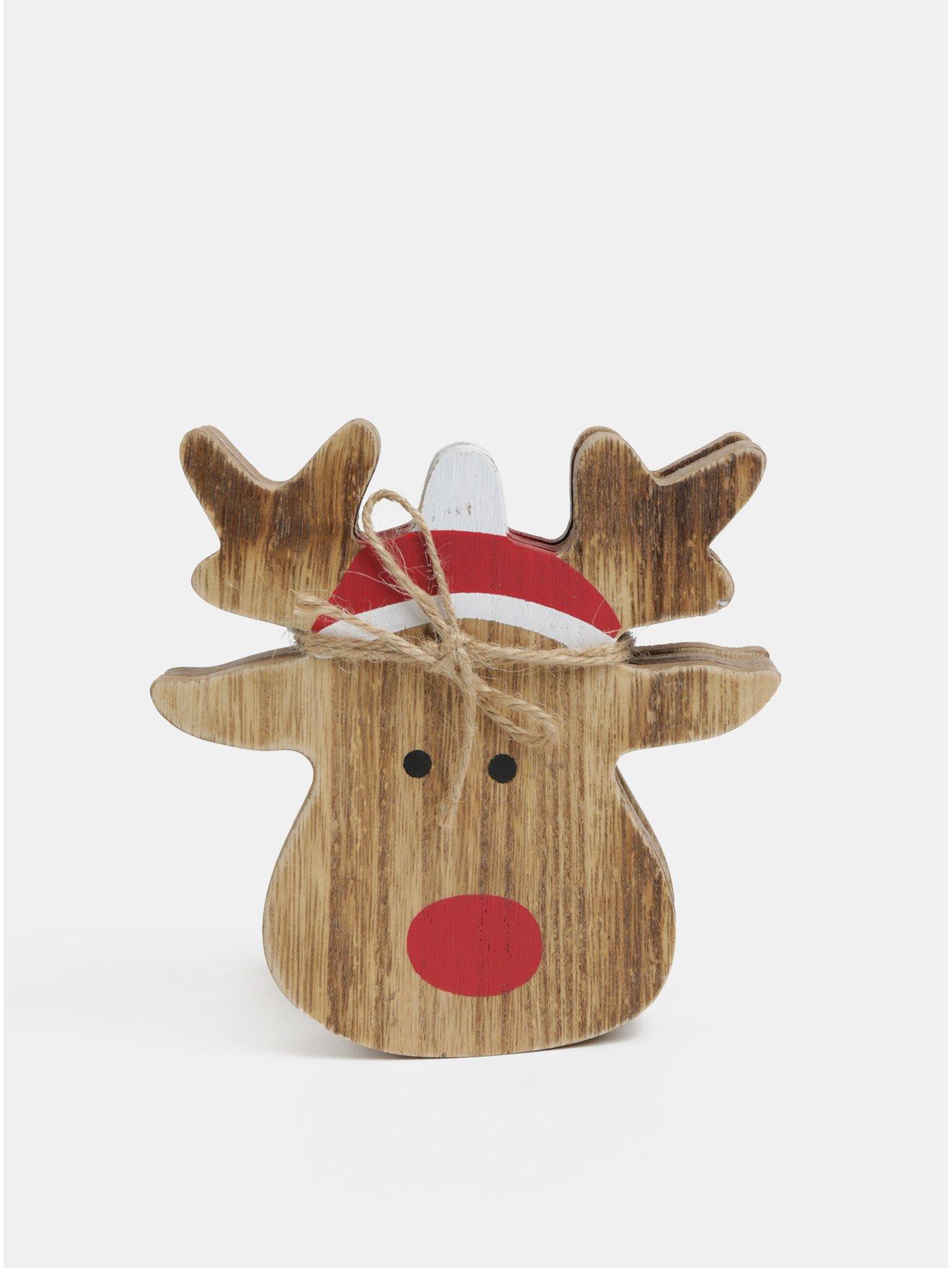 Sada čtyř dřevěných podtácků s motivem vánočního soba Sass & Belle Rudolf