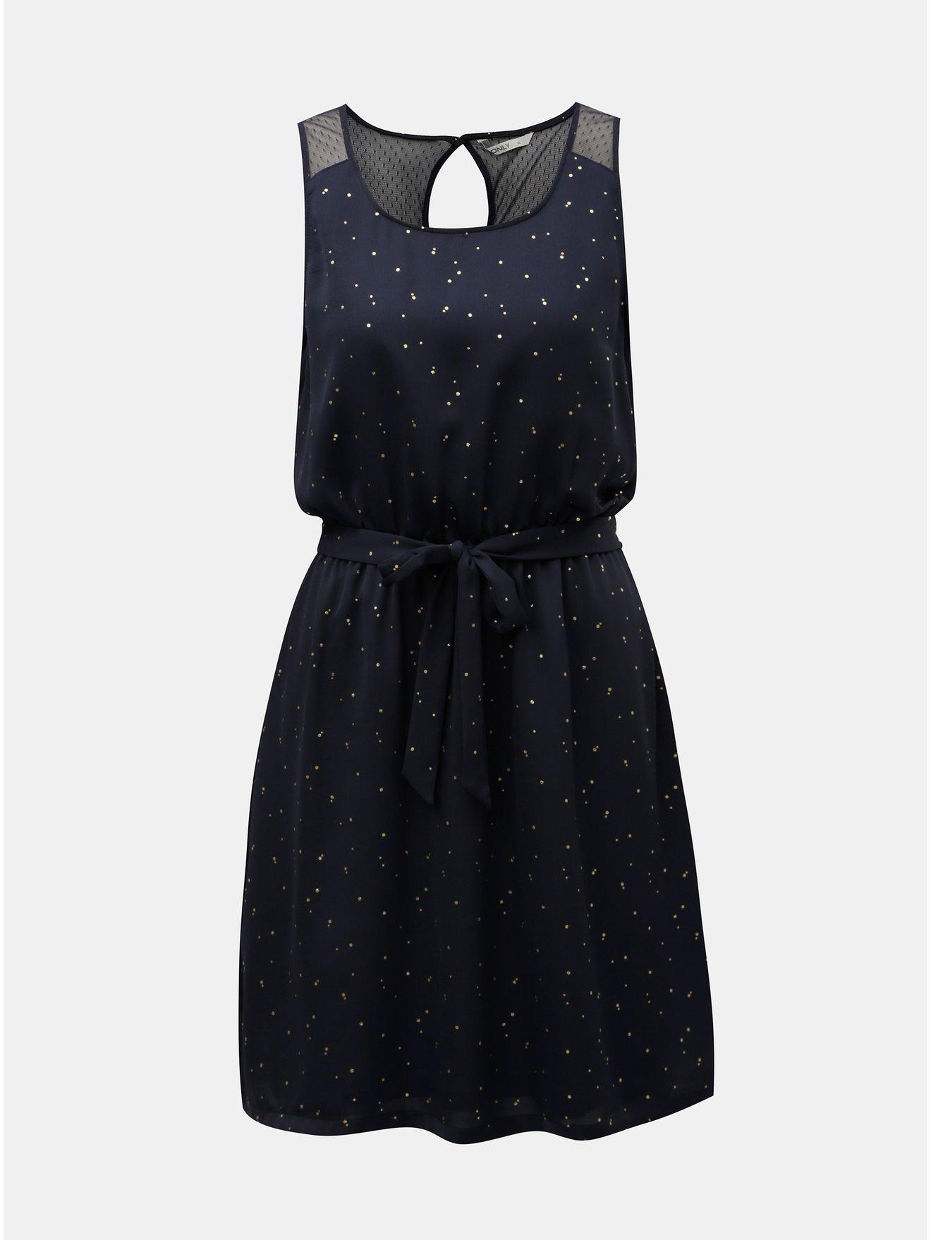 Tmavě modré šaty s puntíky ve zlaté barvě a gumou v pase ONLY Marbella