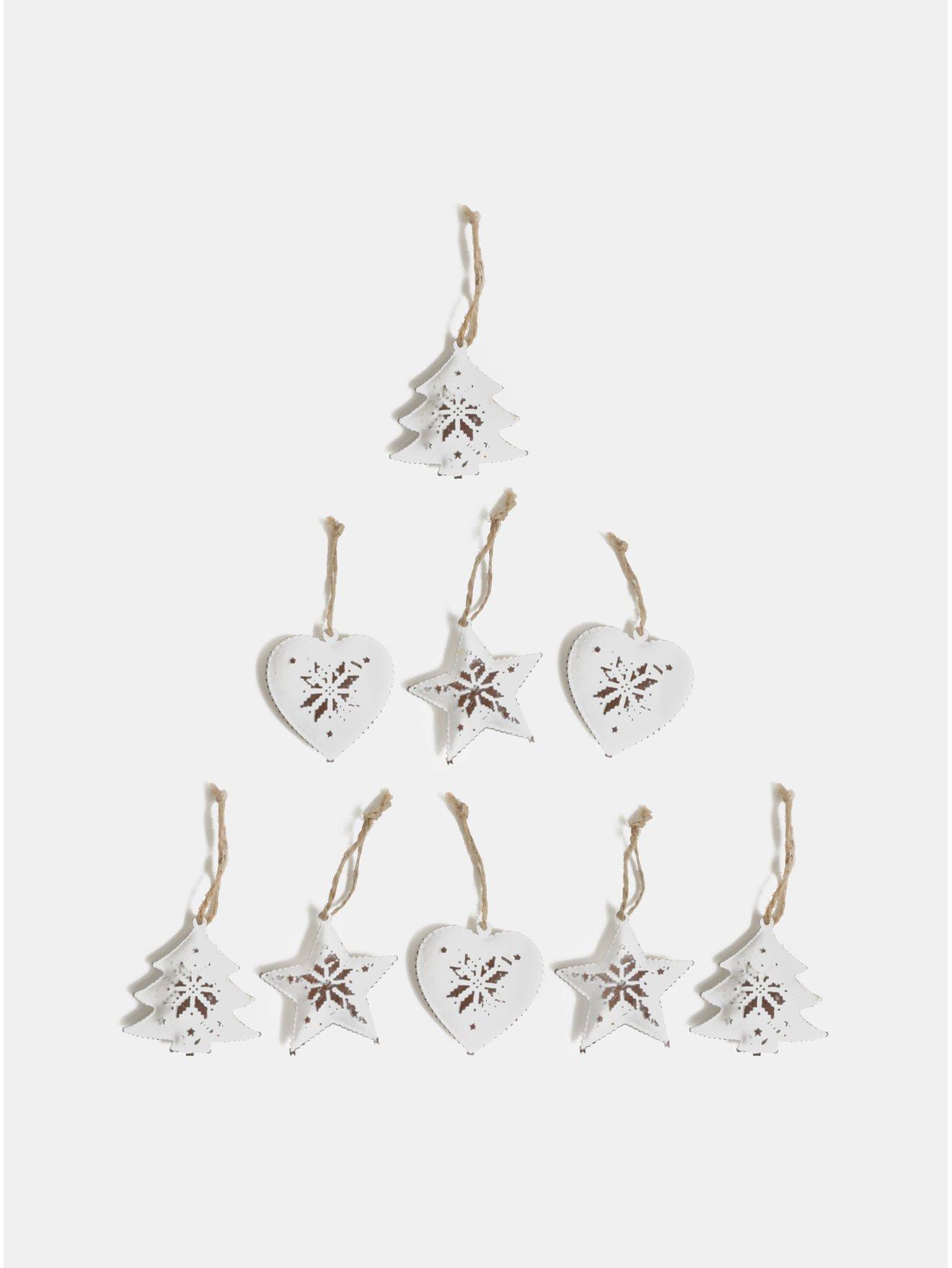 Sada devíti bílých vánočních ozdob v dřevěné krabičce Sass & Belle Snowflake