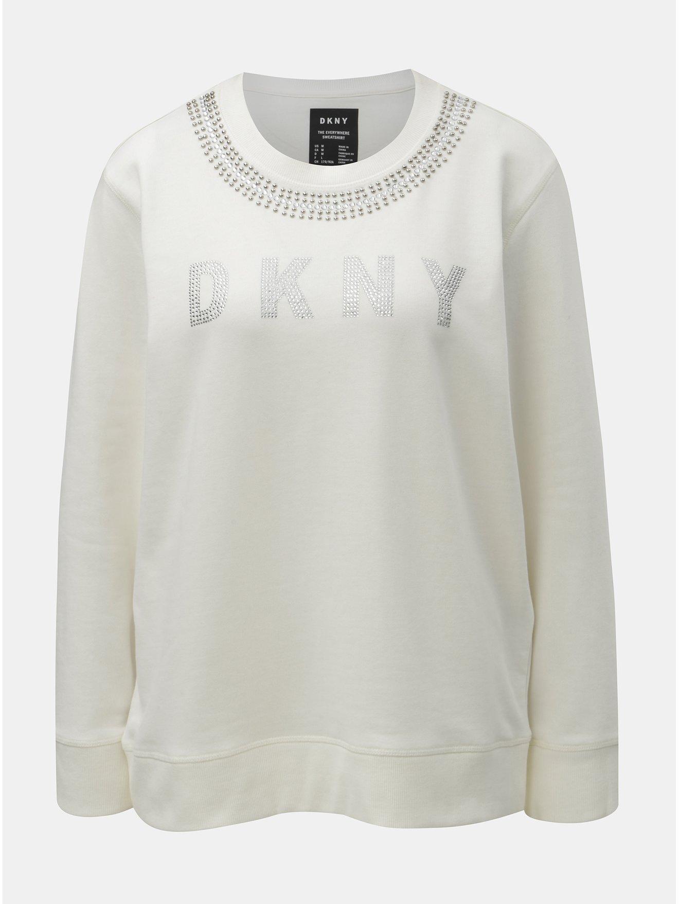Krémová mikina s ozdobnými kamínky DKNY