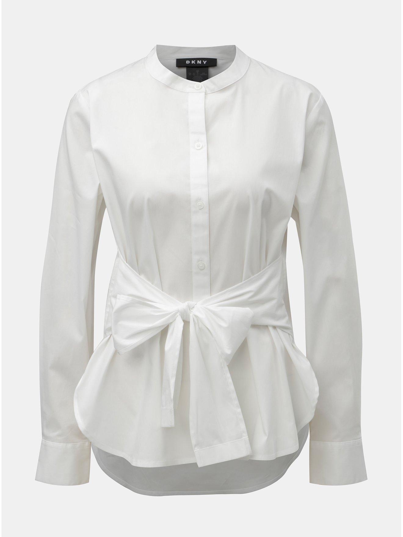 Bílá košile s mašlí DKNY Mandarin Collar a78486ce3d