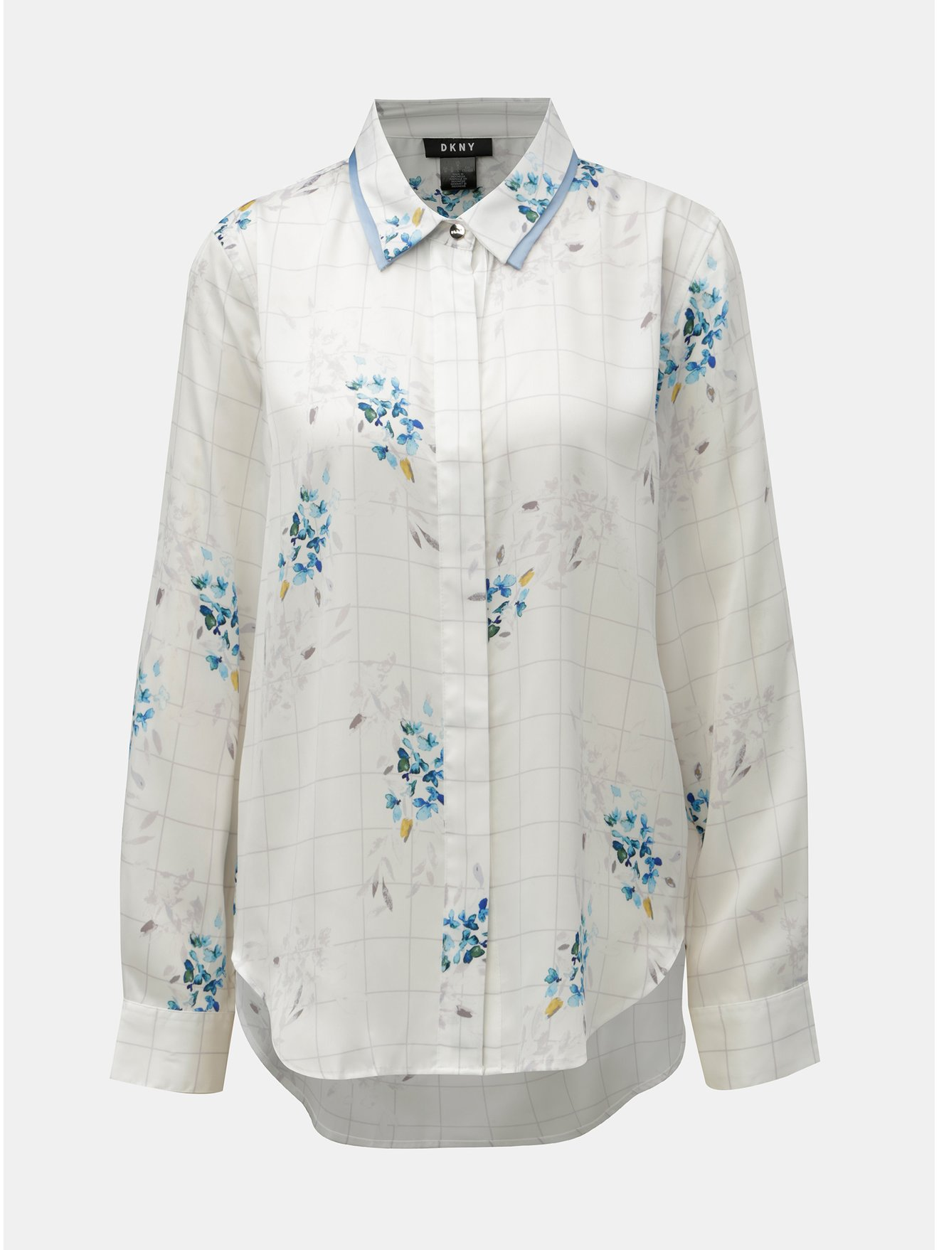 Modro-bílá kostkovaná květovaná košile DKNY 0e9190fbd8