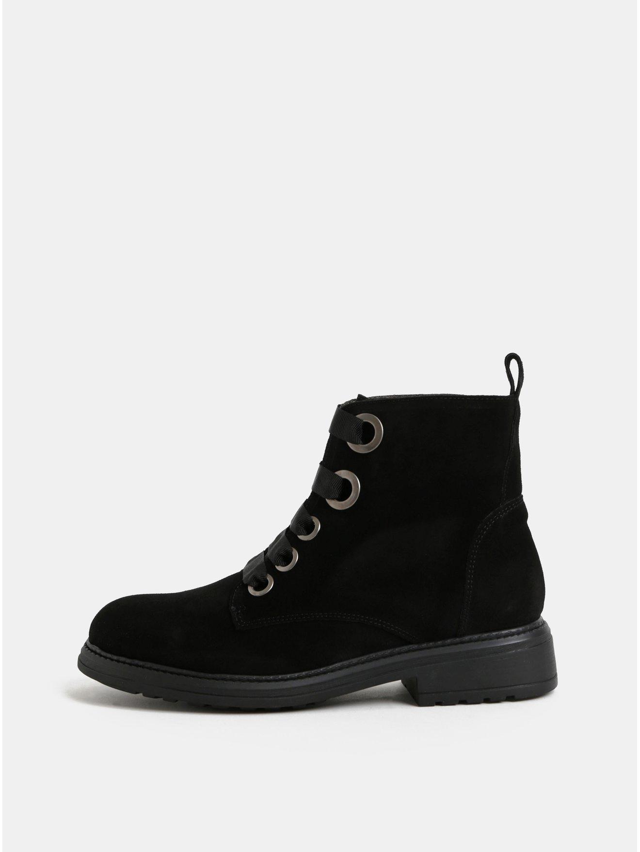 Černé semišové kotníkové boty OJJU 4b21766c8e