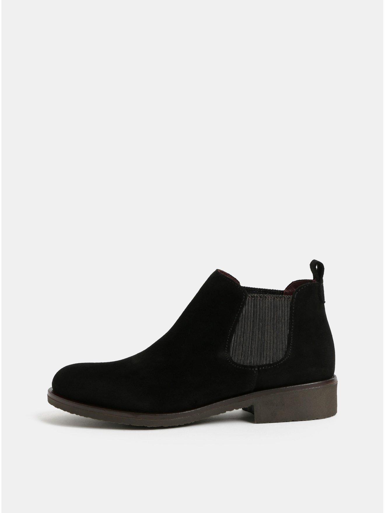 Černé semišové chelsea boty OJJU c2db9167ec