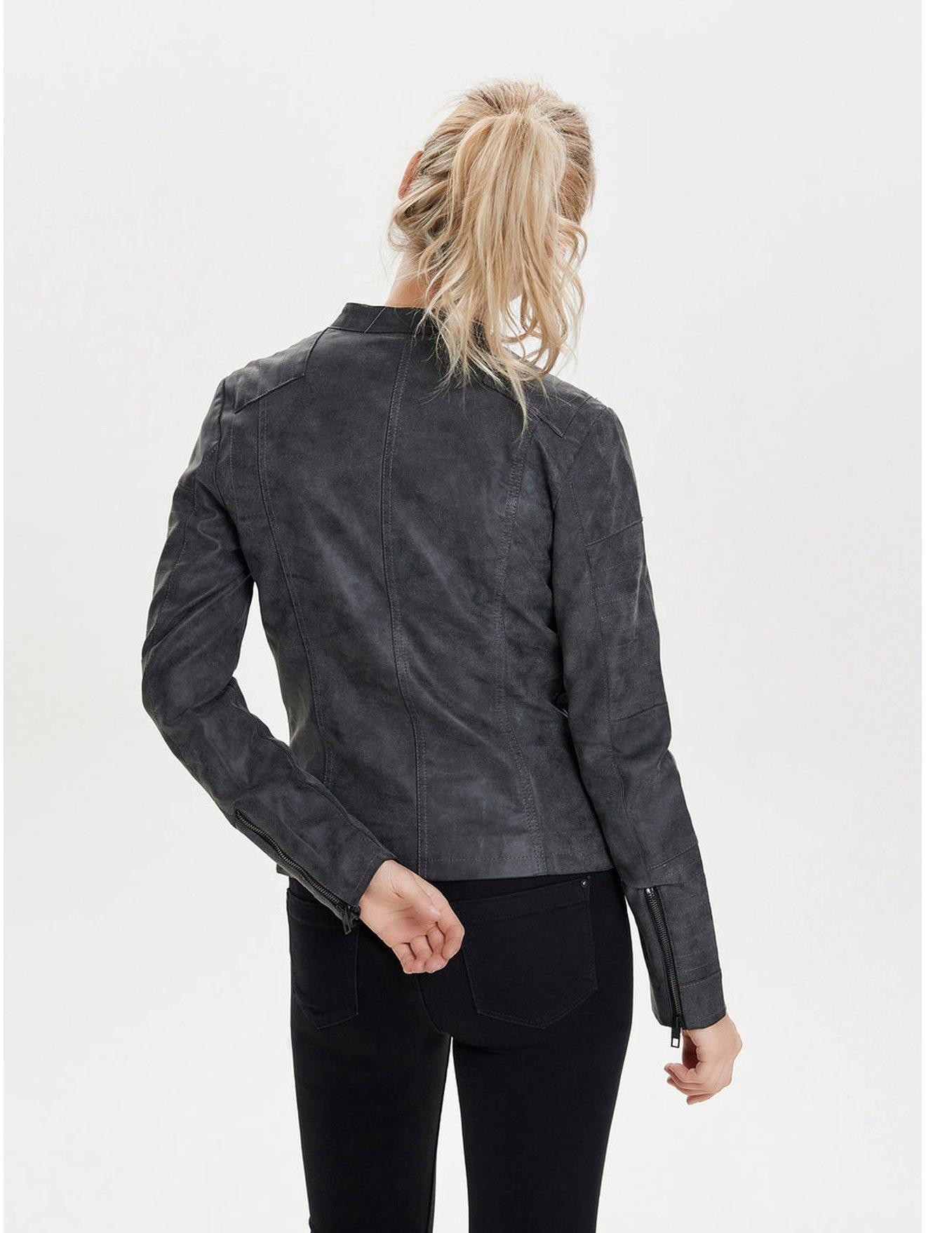 Tmavě šedý koženkový křivák s kapsami ONLY Biker