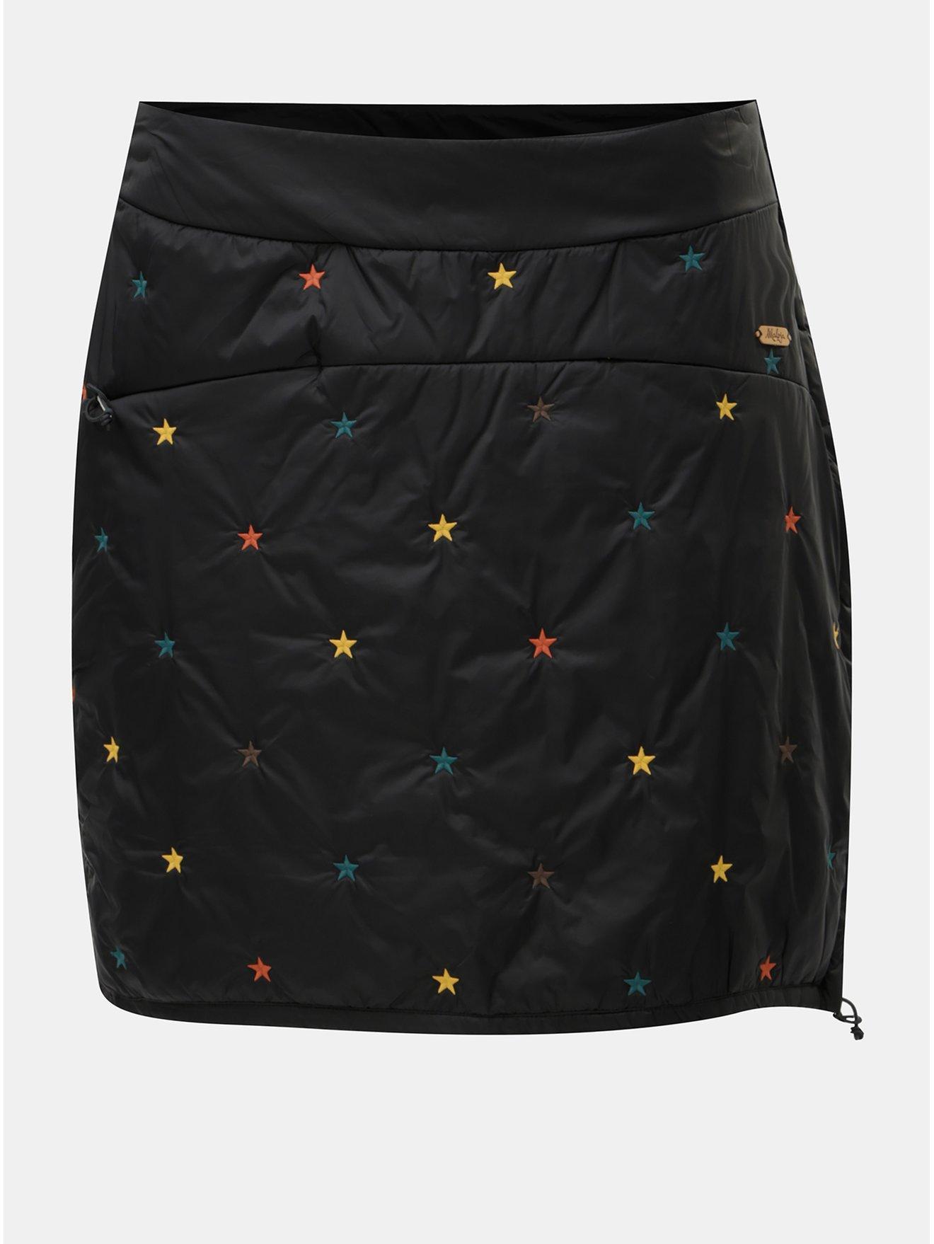 Černá šusťáková sukně s výšivkou Maloja Viola