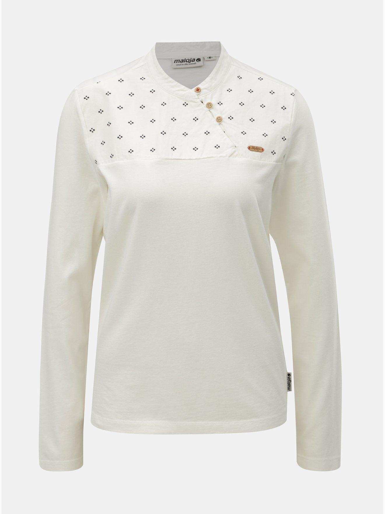 Fotografie Krémové dámské tričko s knoflíky a dlouhým rukávem Maloja Vauglia