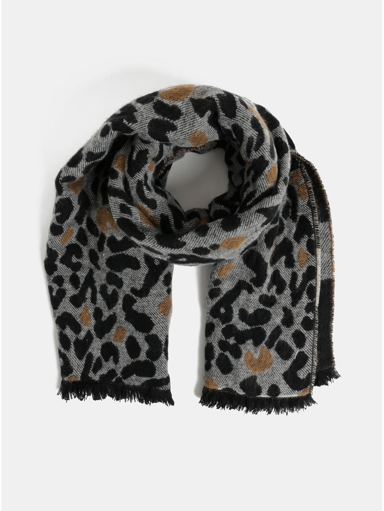 Šedo-černá šála s gepardím vzorem Dorothy Perkins 527144c9dc