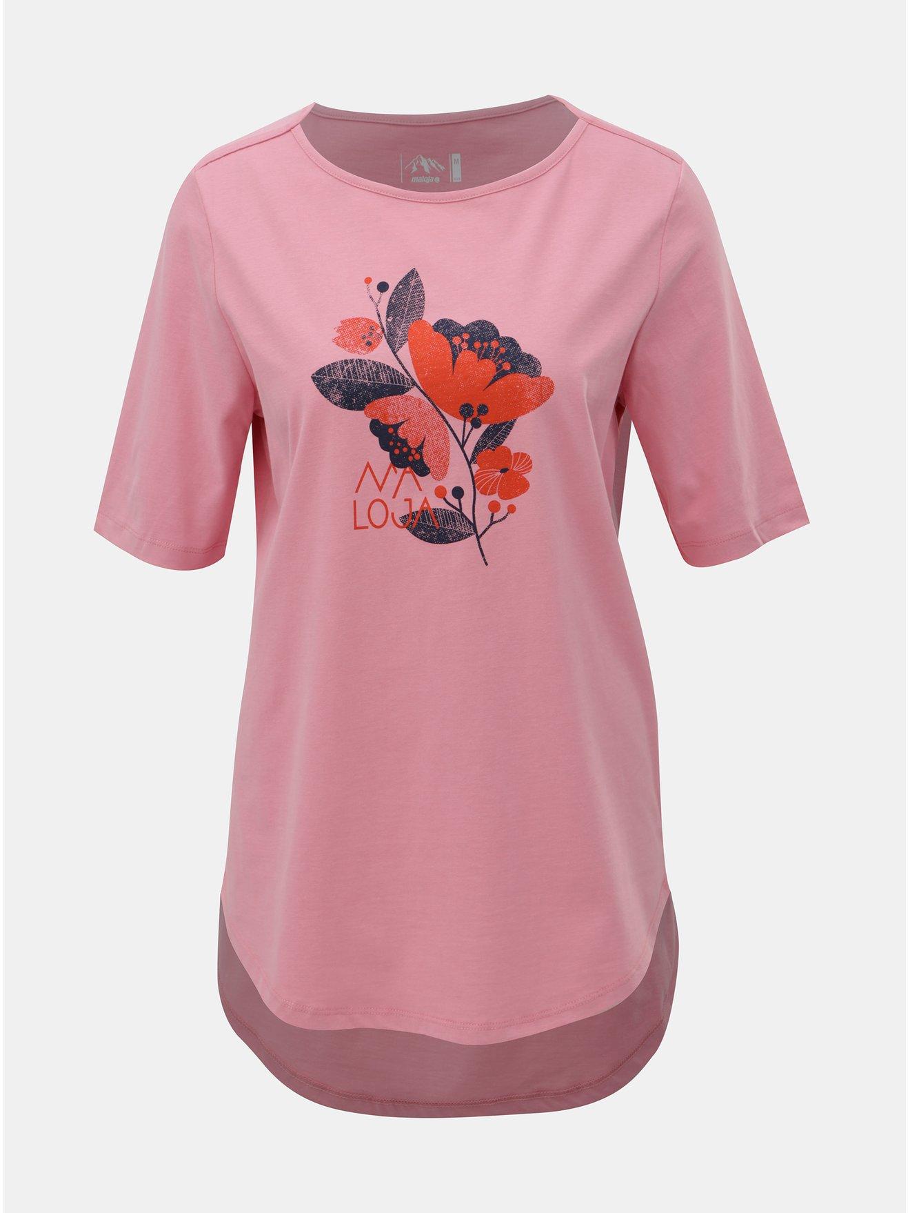 Růžové dámské volné tričko s potiskem Maloja Mormorera d0a7ffd2e6