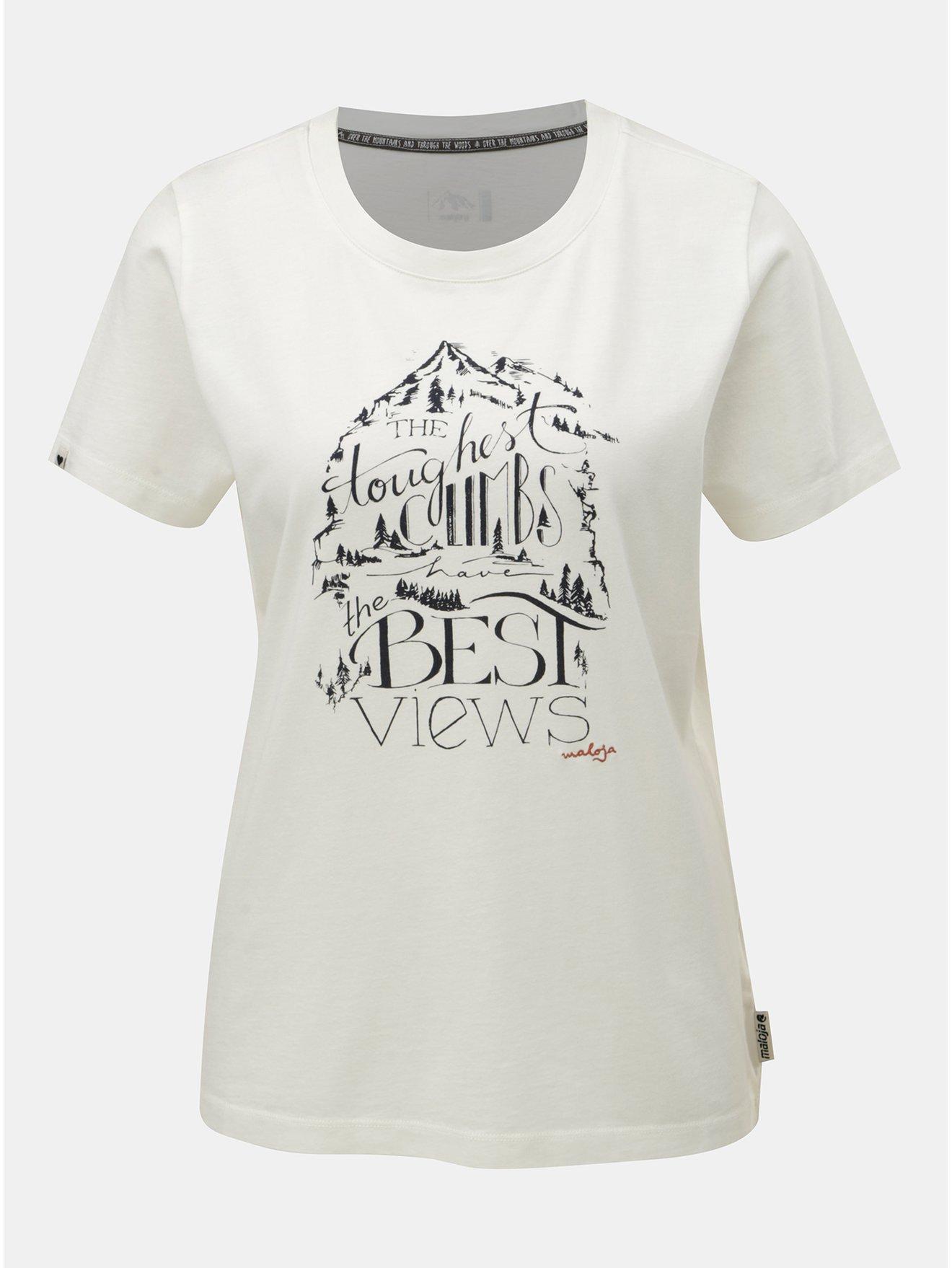 Fotografie Krémové dámské tričko s potiskem a krátkým rukávem Maloja Orlegna