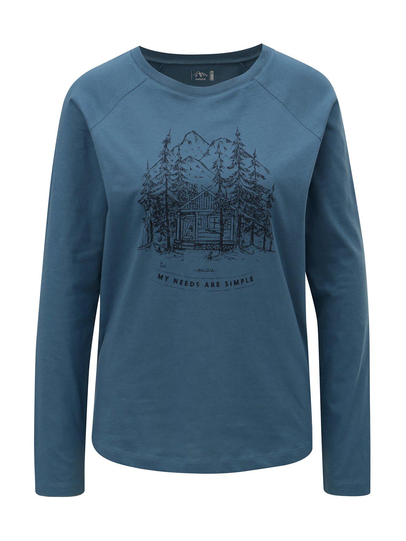 Fotografie Modré dámské tričko s potiskem a dlouhým rukavem Maloja Flurinda