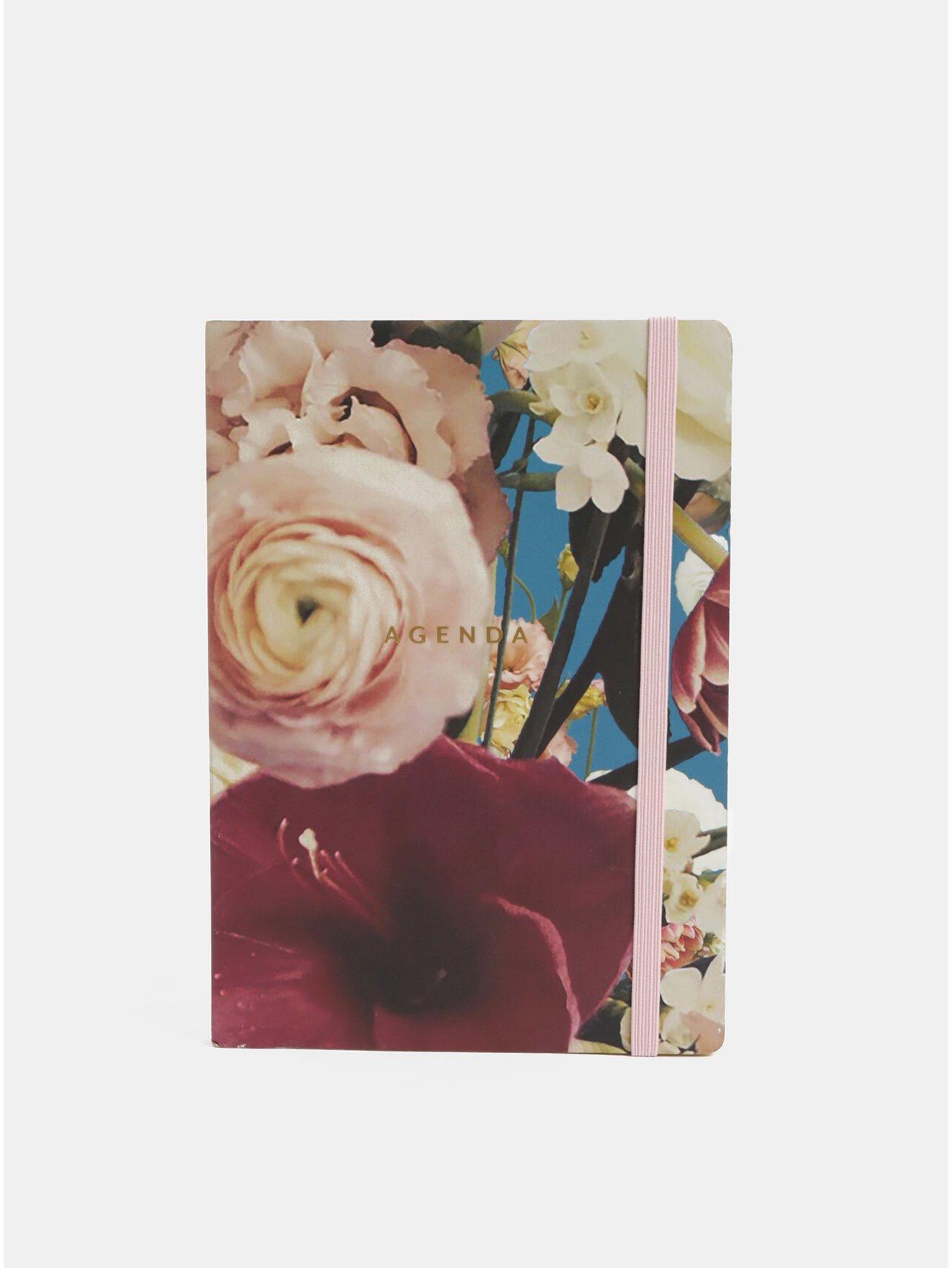 Vínovo-růžový květovaný týdenní diář A5 Chronicle Ashley Woodson
