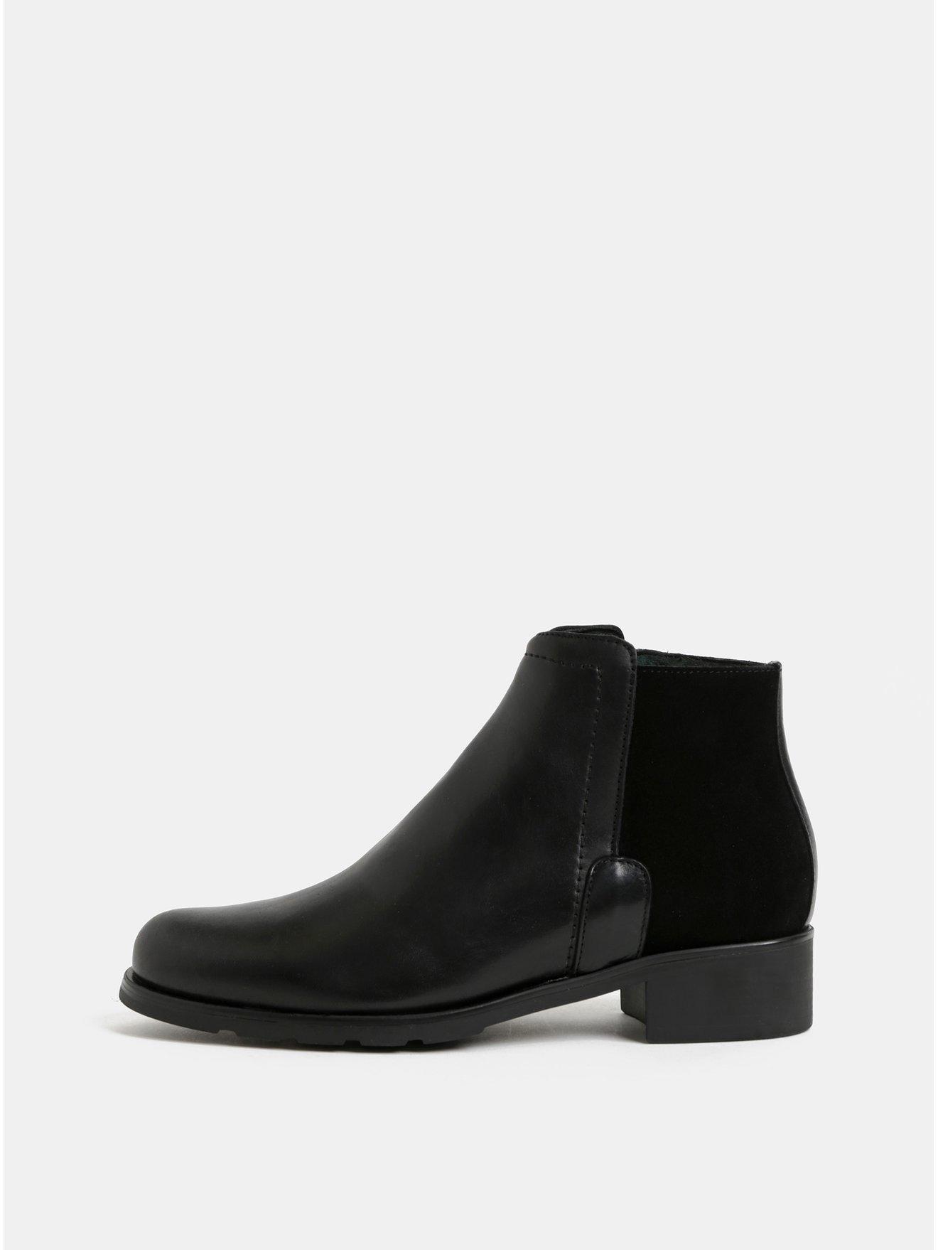 c66c6c2d093 Černé kožené kotníkové boty se semišovým detailem OJJU