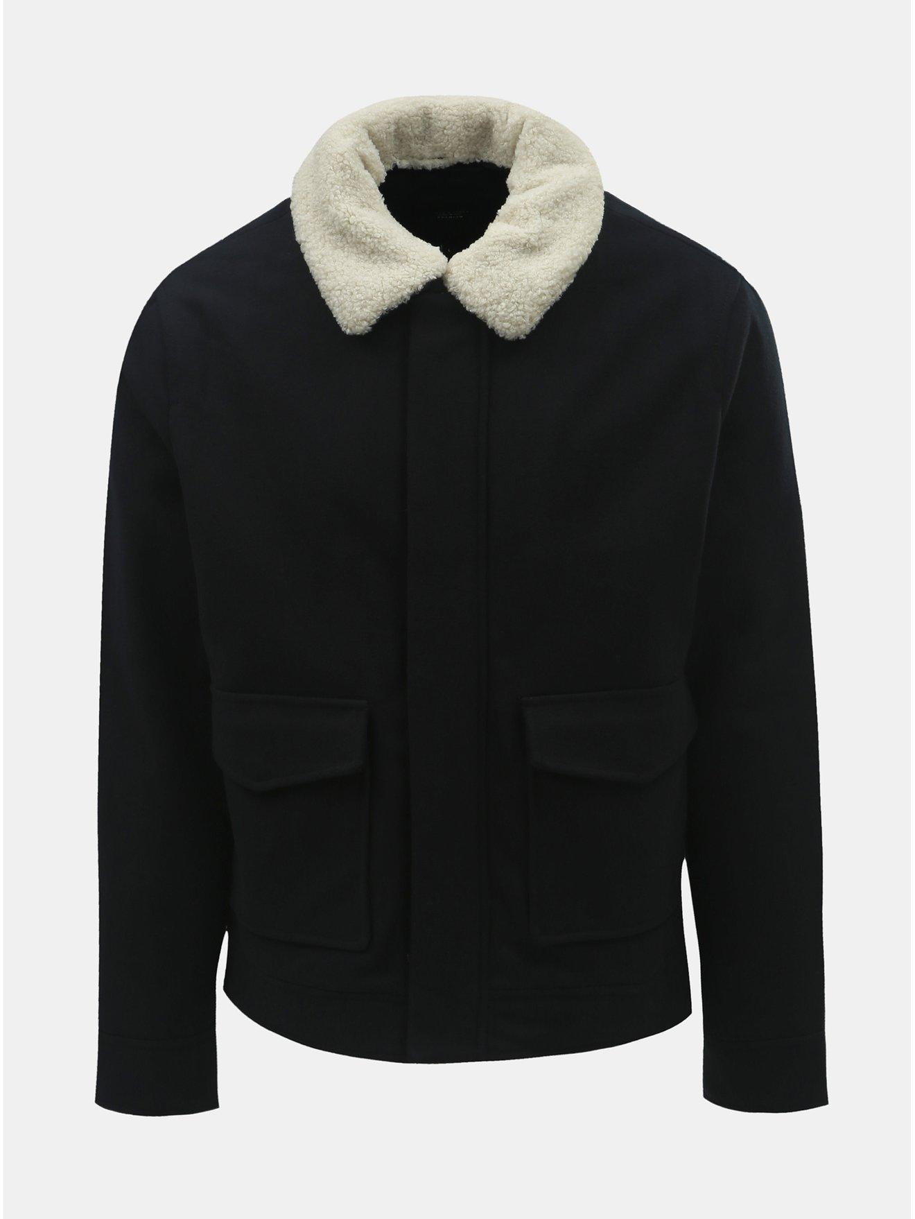 Tmavě modrá zimní bunda s příměsí vlny a umělým kožíškem Jack & Jones Box