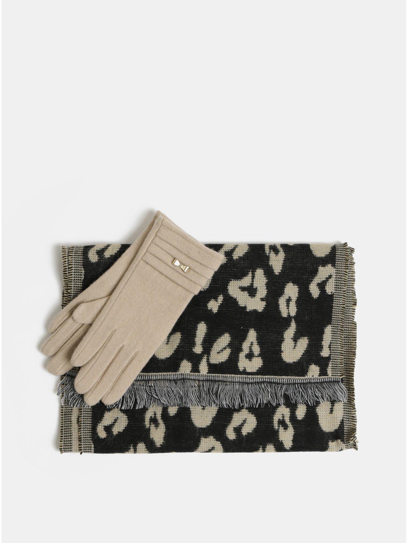 Sada šály a vlněných rukavic v černé a béžové barvě v dárkovém balení  Something Special 03bf6bcaf9