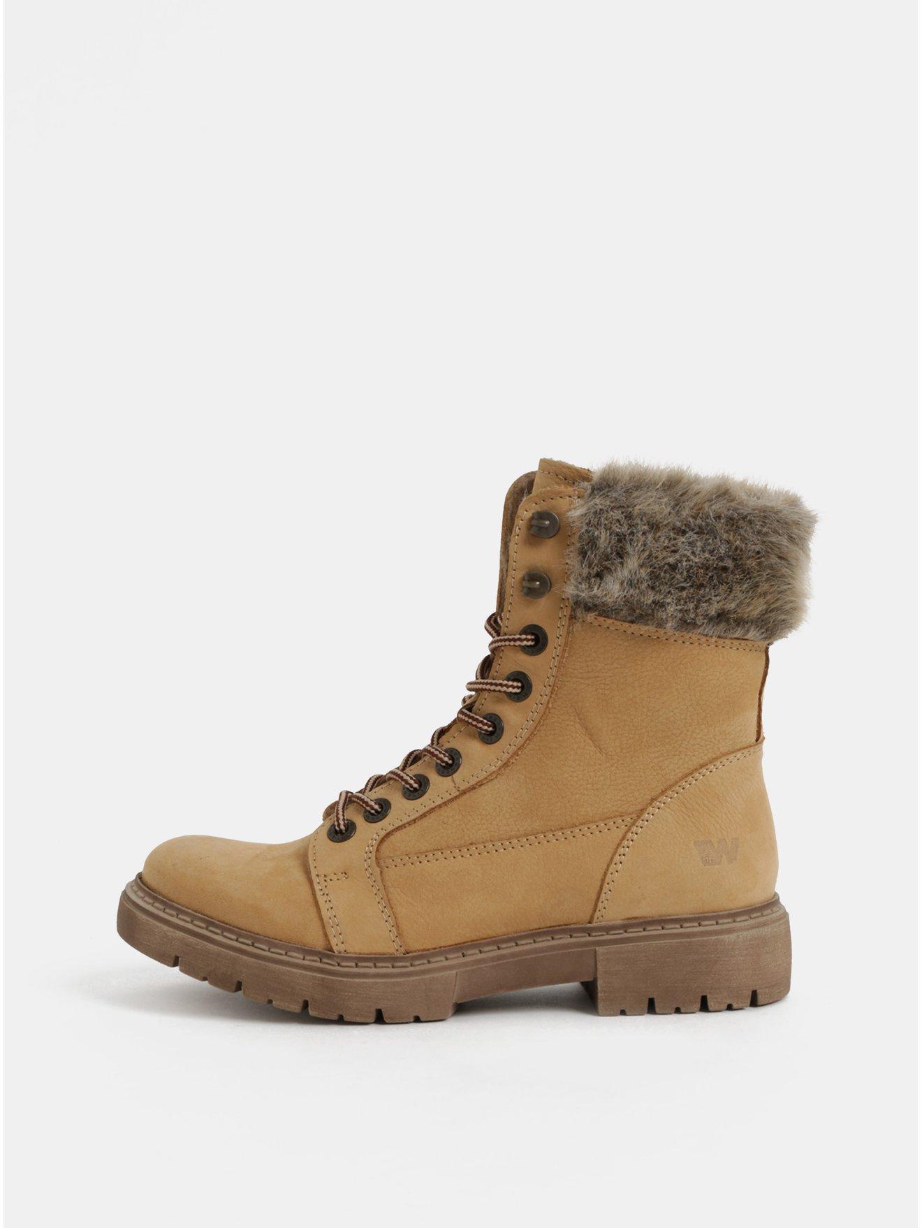 Světle hnědé dámské kožené kotníkové zimní boty Weinbrenner