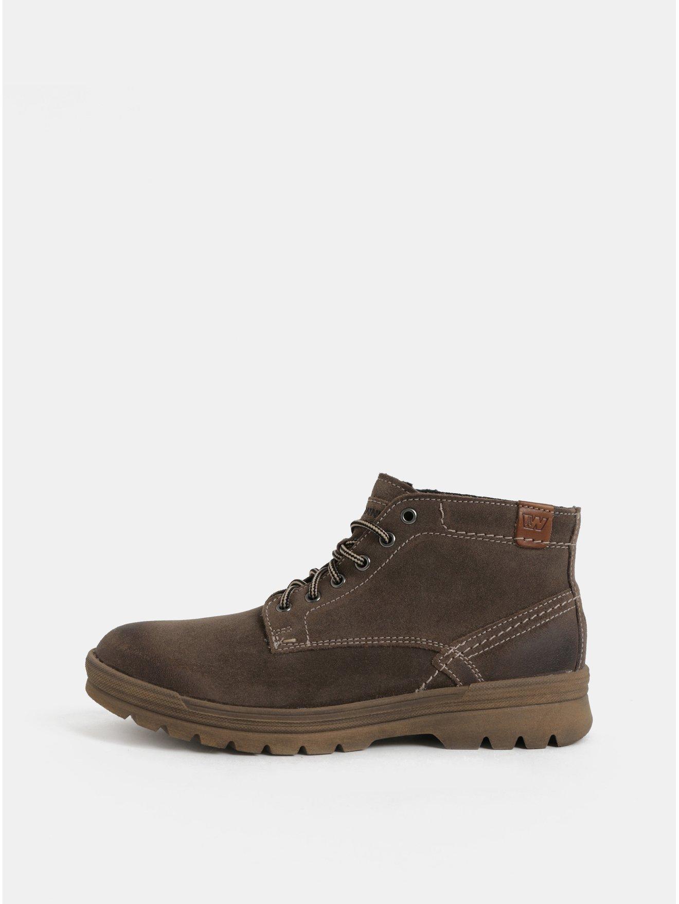 Tmavě hnědé pánské semišové kotníkové zimní boty Weinbrenner 5d5739d8ab