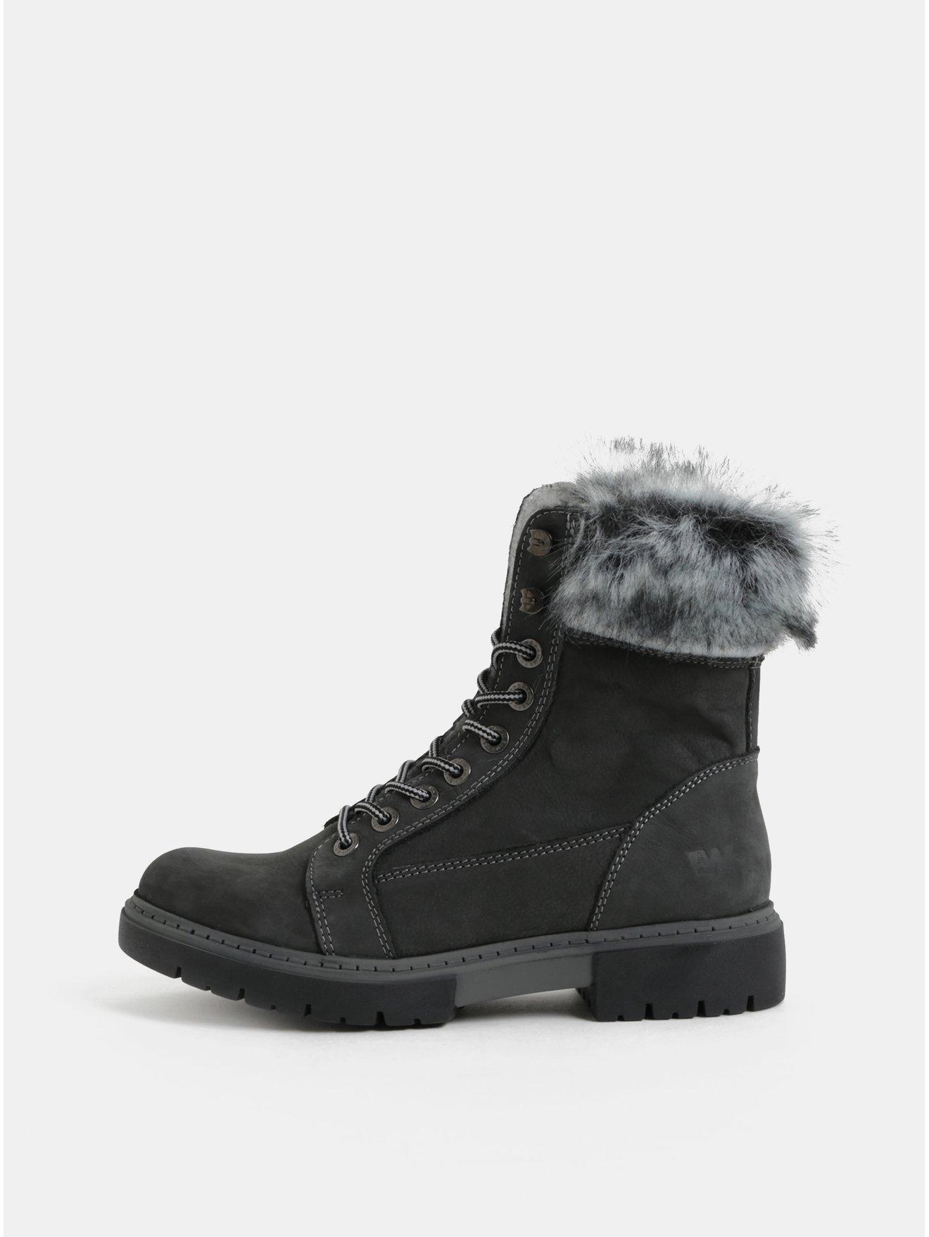Šedé dámské kožené zimní kotníkové boty s umělým kožíškem Weinbrenner fd89aa66f9