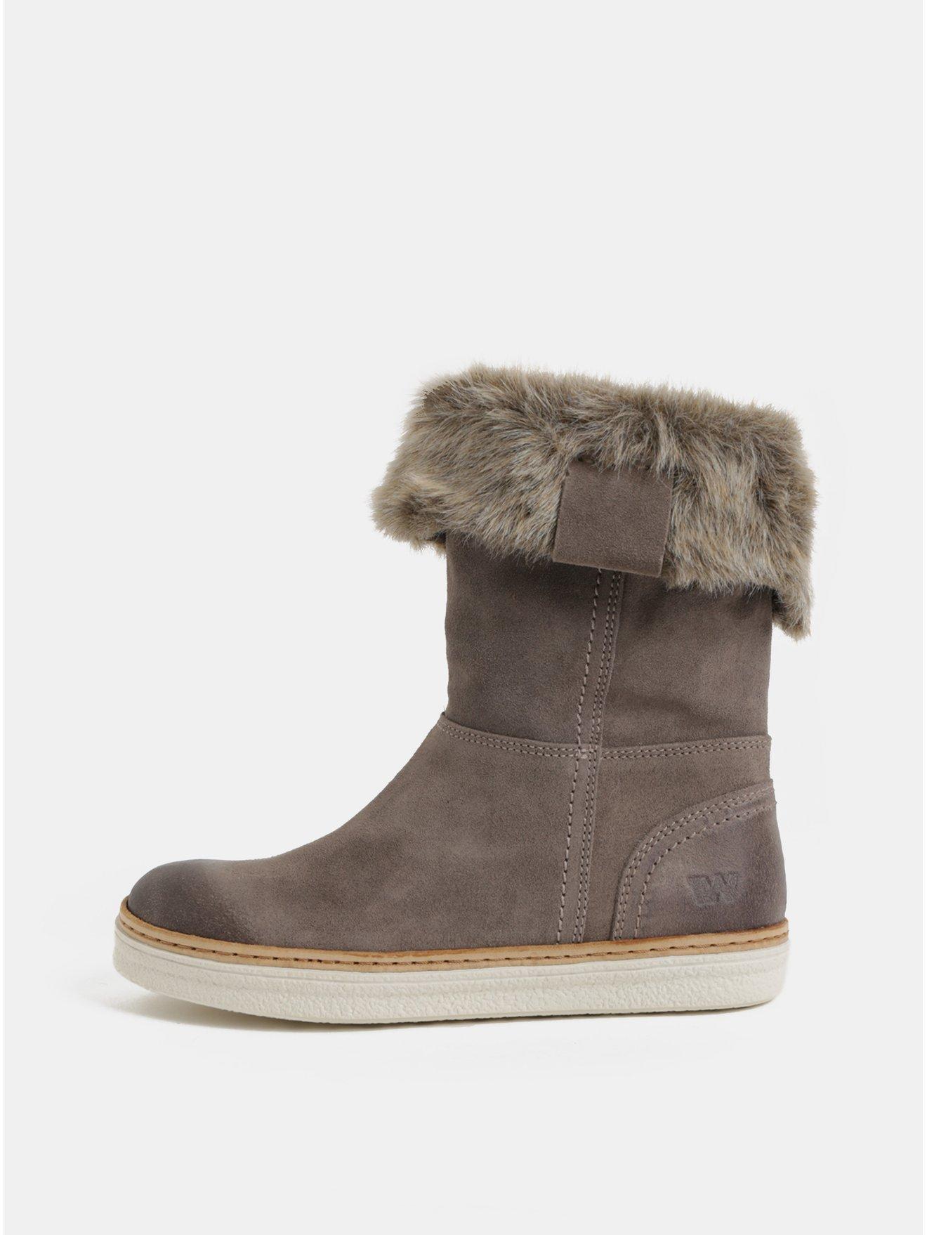 Šedé dámské semišové kotníkové zimní boty s kožíškem Weinbrenner