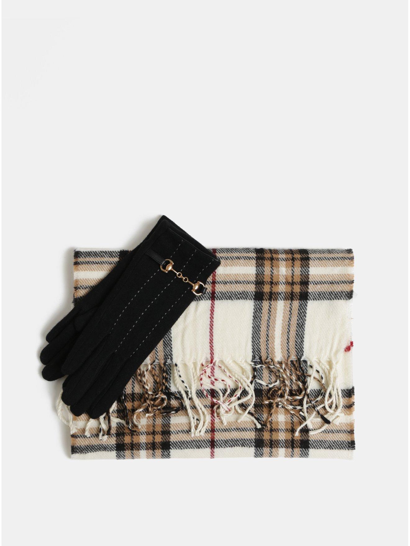 Sada šály a vlněných rukavic v černé a krémové barvě v dárkovém balení  Something Special 1121a80665