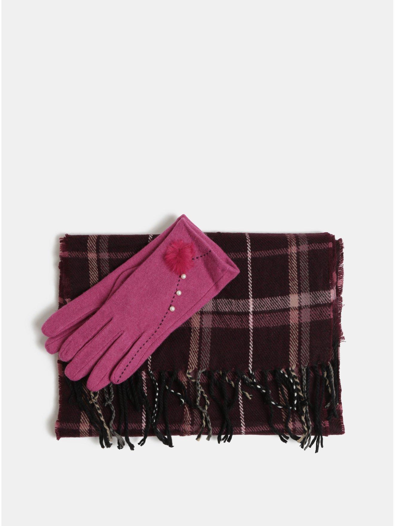 Sada šály a vlněných rukavic v růžové a fialové barvě v dárkovém balení  Something Special 95a51f5c73