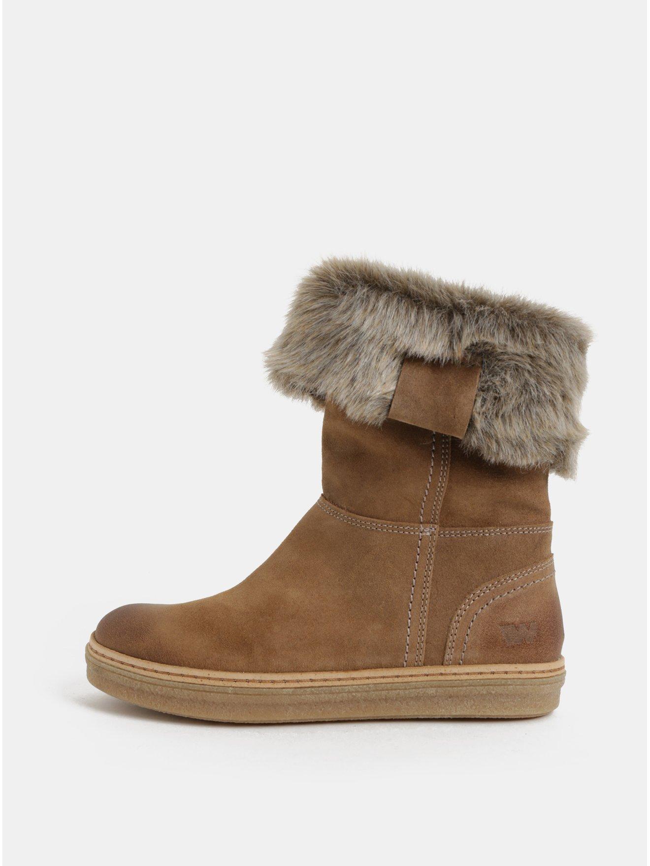 Světle hnědé dámské semišové kotníkové zimní boty s umělým kožíškem Weinbrenner