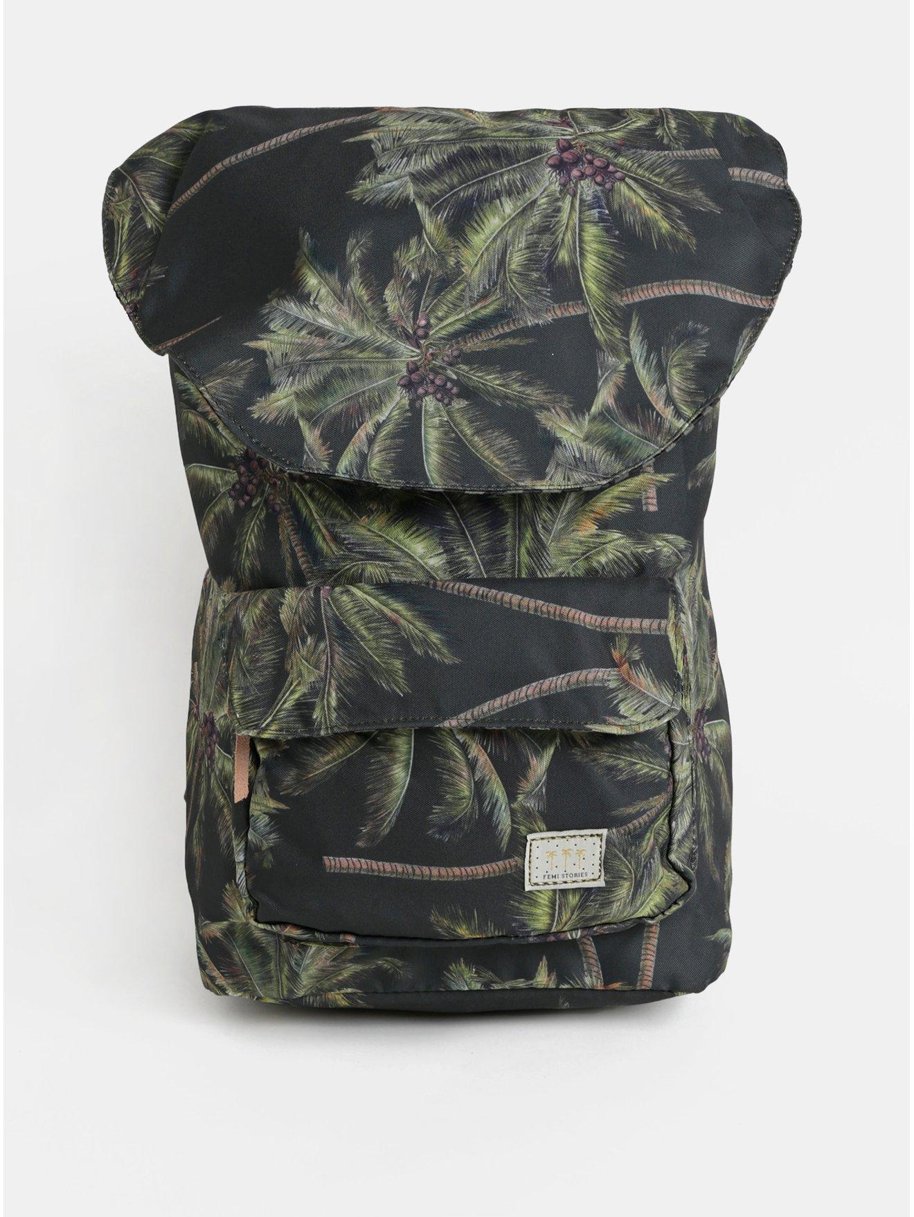Tmavě zelený batoh s tropickým potiskem Femi Stories