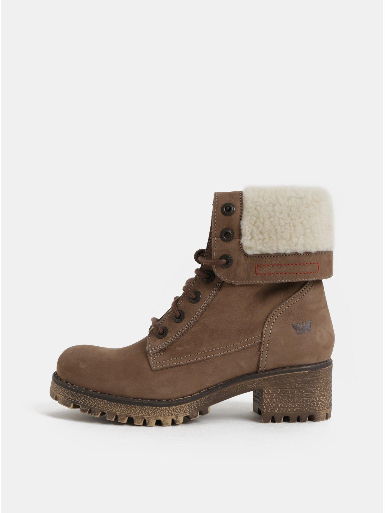 Hnědé dámské kožené kotníkové zimní boty na podpatku Weinbrenner