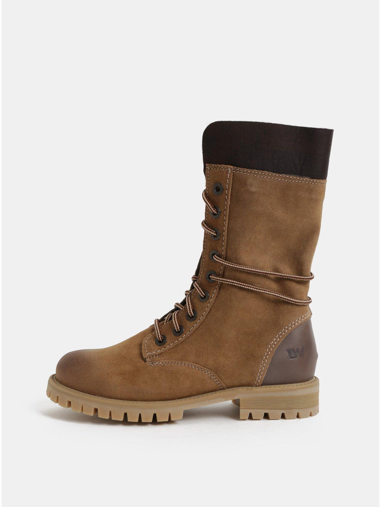 Hnědé dámské semišové kotníkové zimní boty se šněrováním Weinbrenner 33db322840