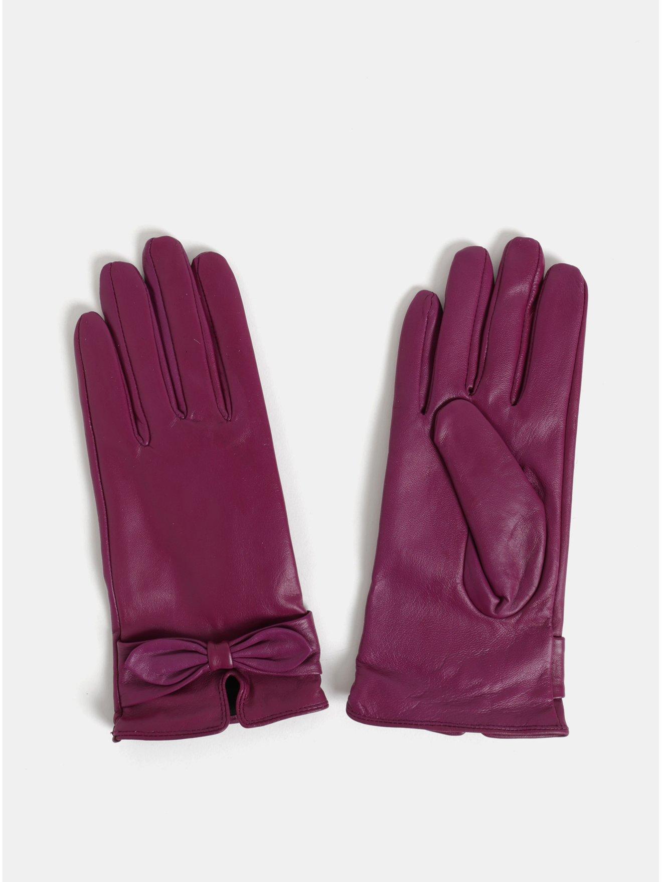 4f47873595a Tmavě růžové kožené rukavice v dárkovém balení Something Special