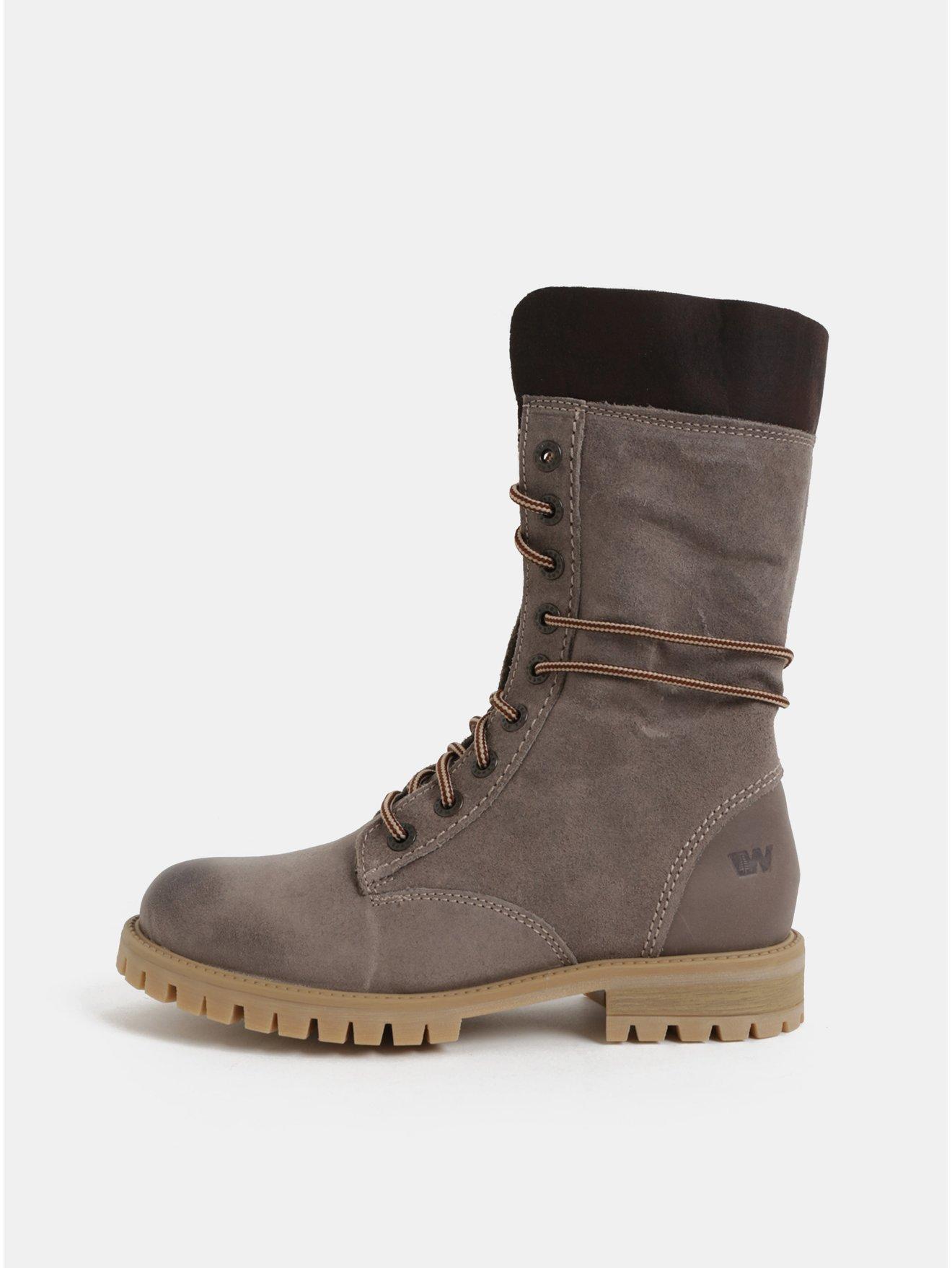 Šedé dámské semišové kotníkové zimní boty se šněrováním Weinbrenner