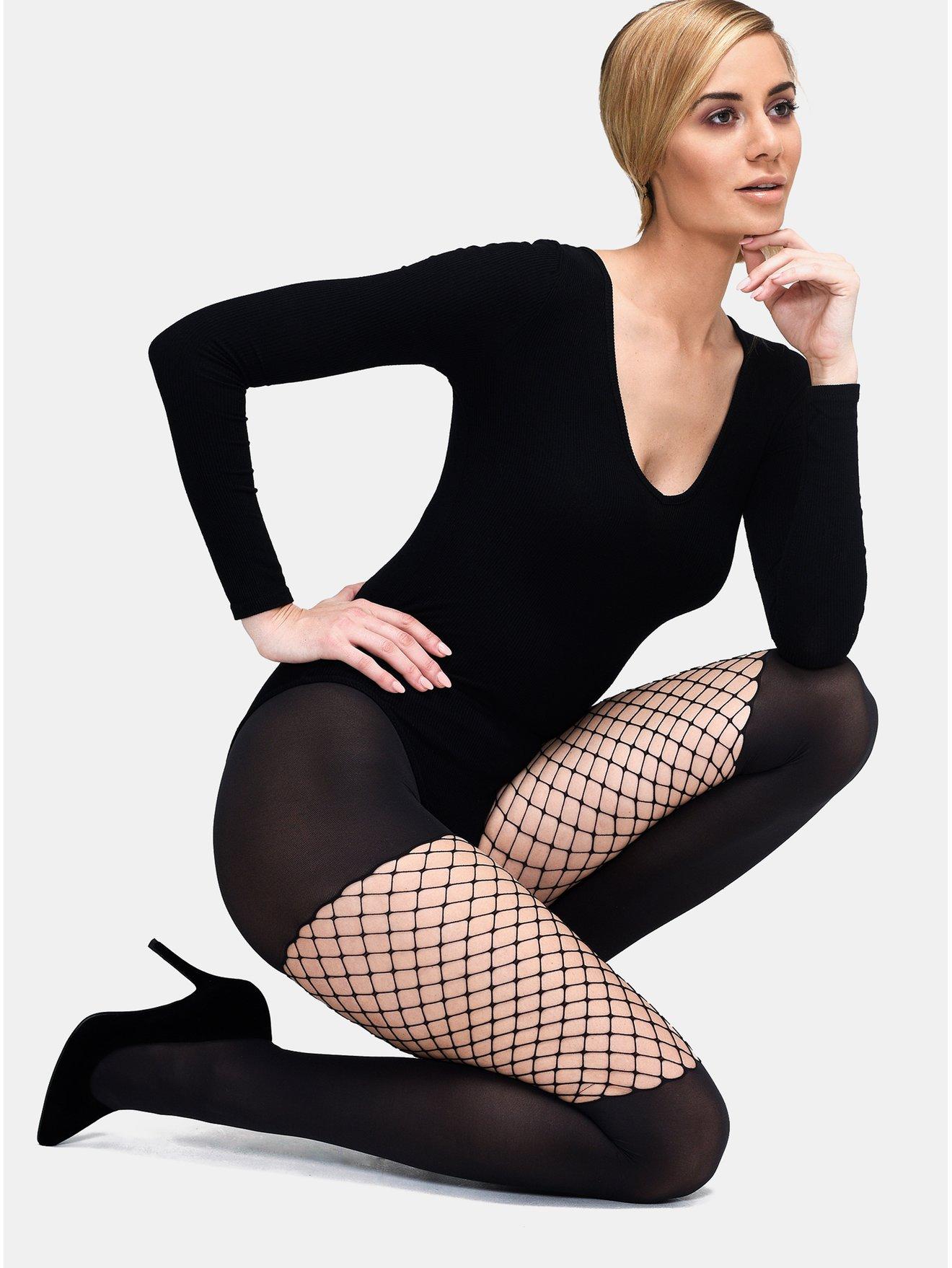 Černé punčochové kalhoty se síťovaným detailem Andrea Bucci Opaque With Net 60 DEN
