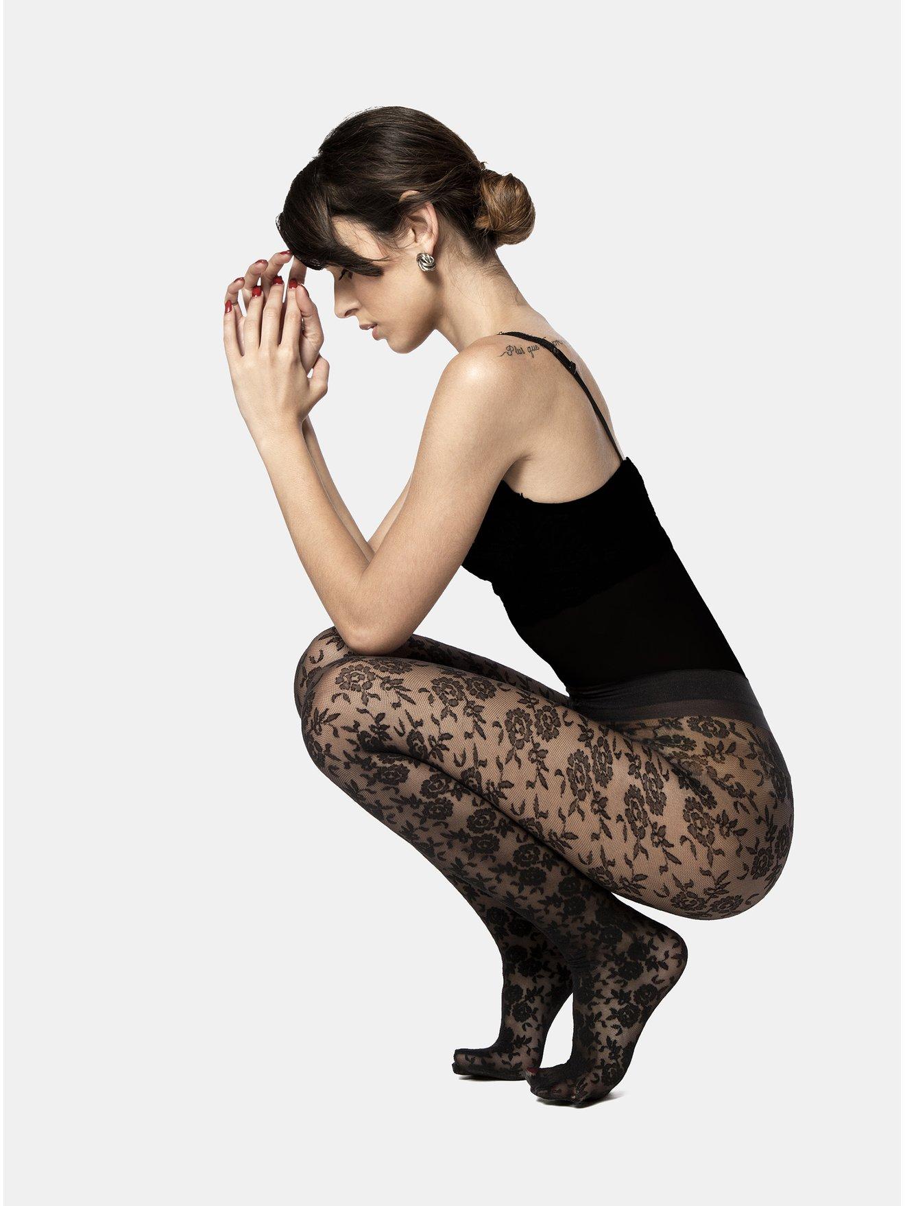 Fotografie Černé květované punčochové kalhoty Andrea Bucci Floral Design