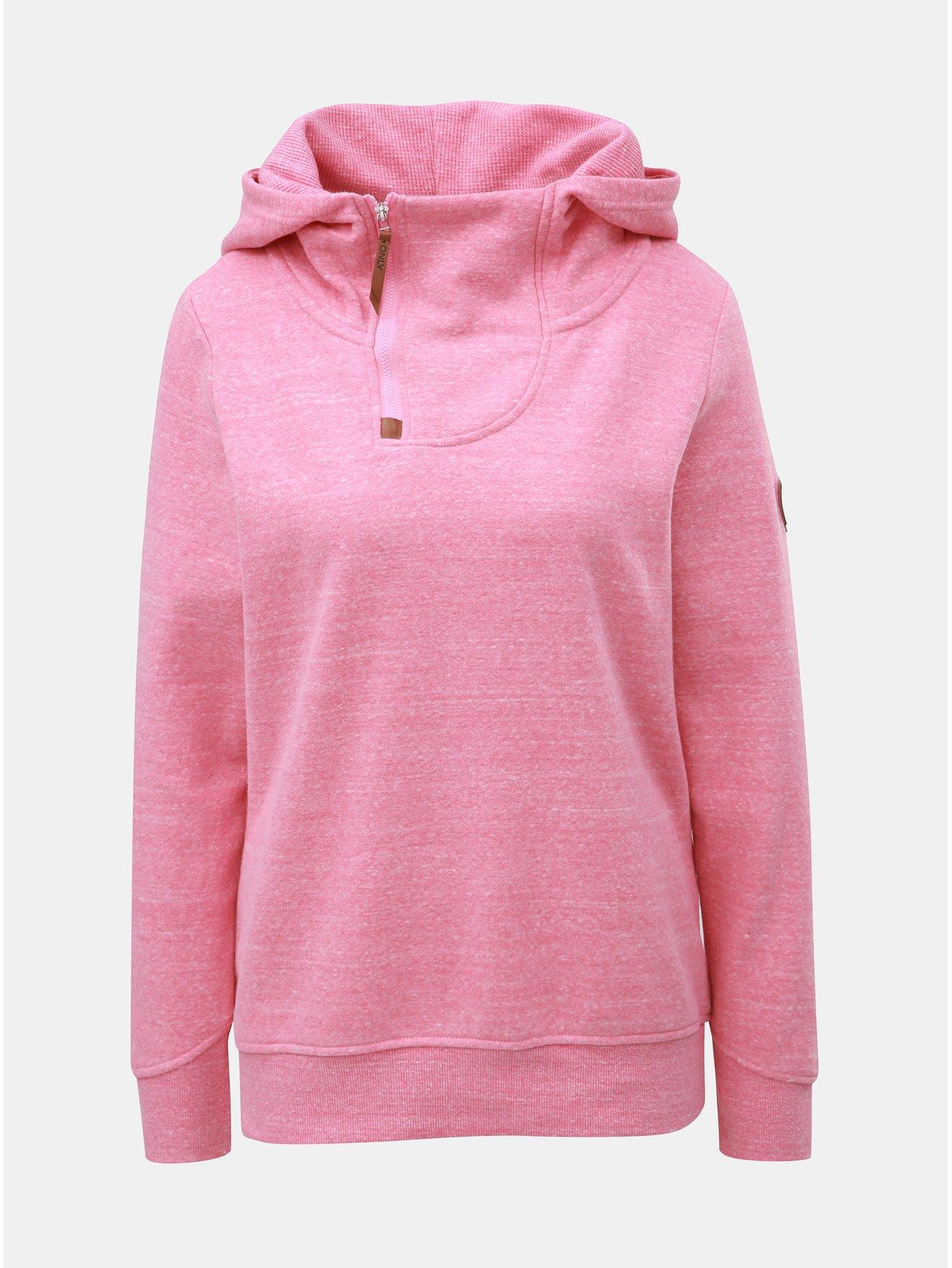 2abe716ec14 Růžová žíhaná mikina s límcem a kapucí ONLY Laura